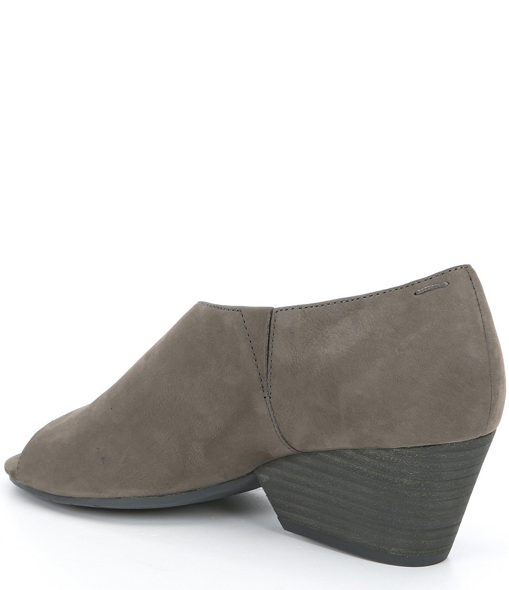 36b293ad11b Women's Gray Fig Open Side Nubuck Slip On Block Heel Shoes