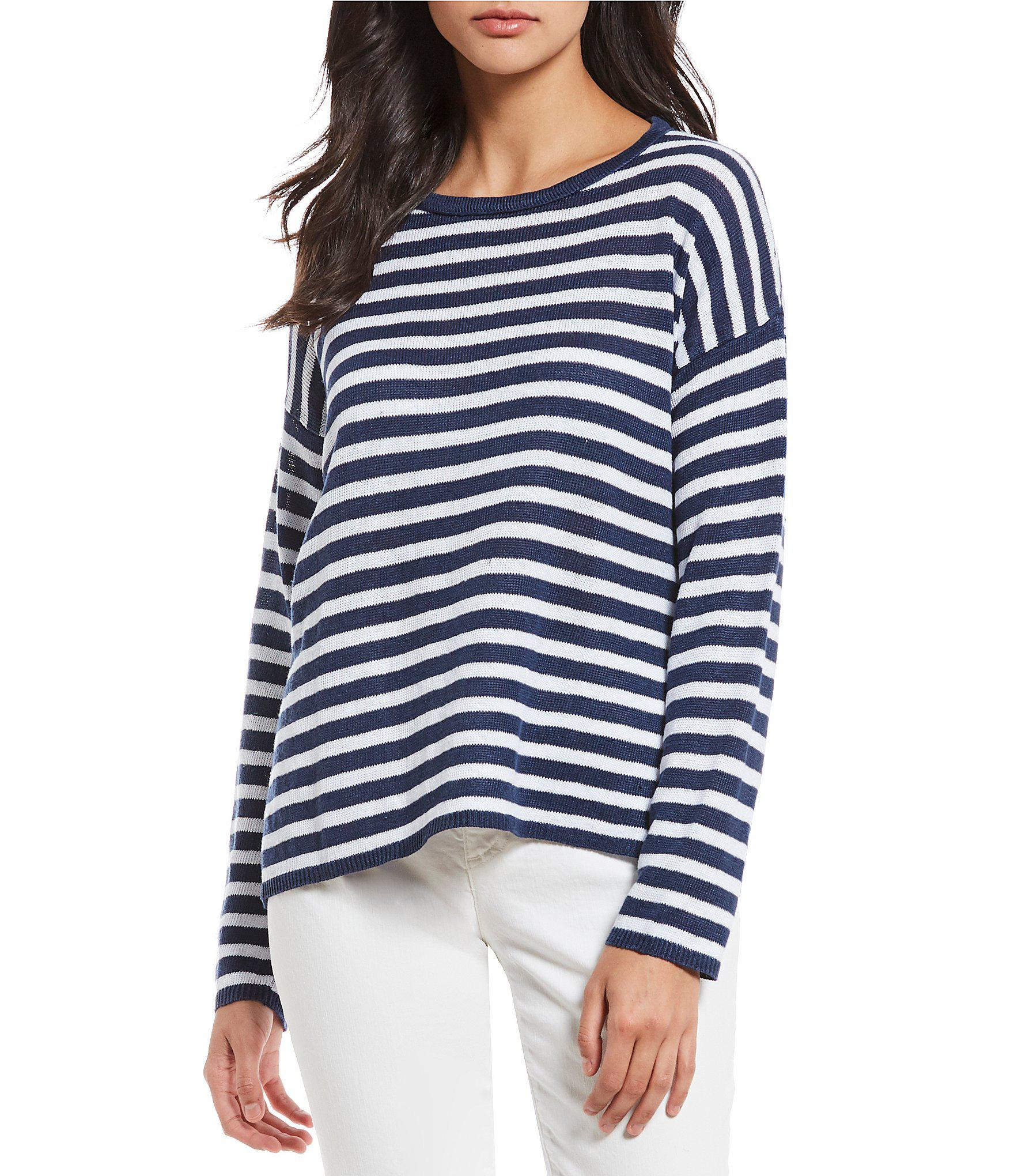 5d3d649d852 Lyst - Eileen Fisher Plus Size Round Neck Box-top in Blue - Save ...