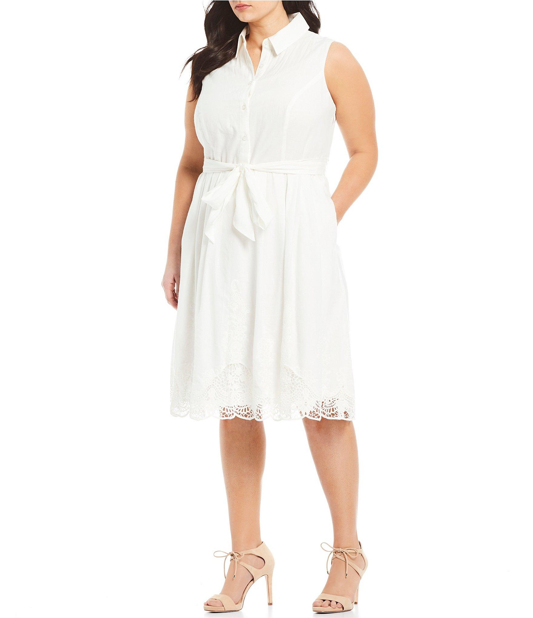 2fbe7533c1c Lyst - Tahari Plus Size Sleeveless Embroidered Trim Fit And Flare ...