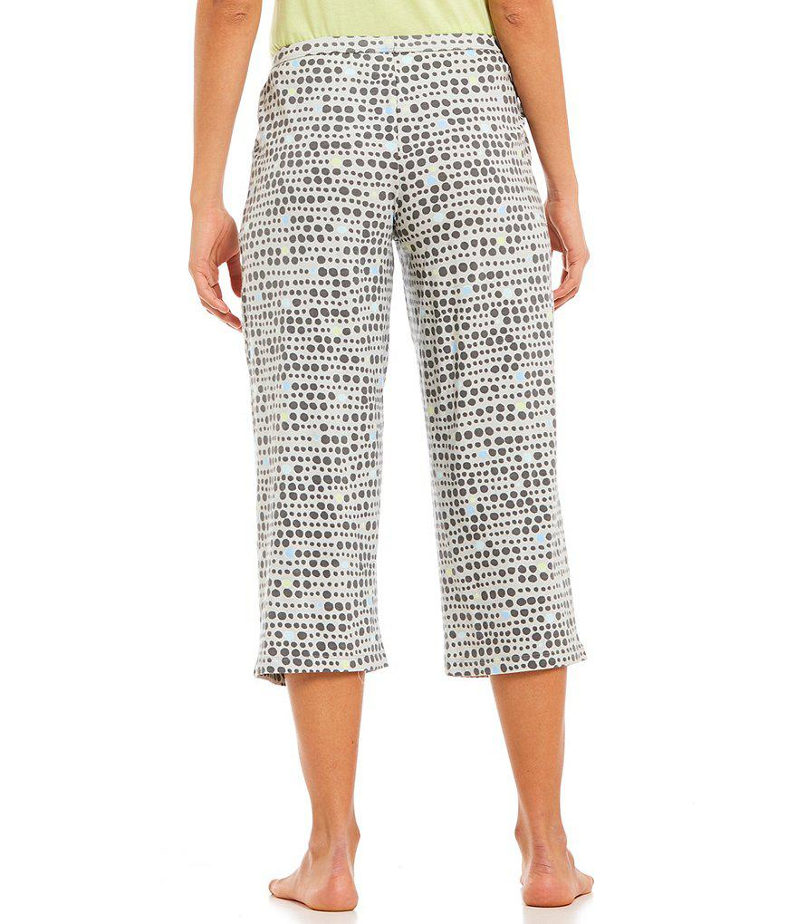 cab2606d66 Lyst - Hue Tique Dot Line-print Capri Sleep Pants in Gray