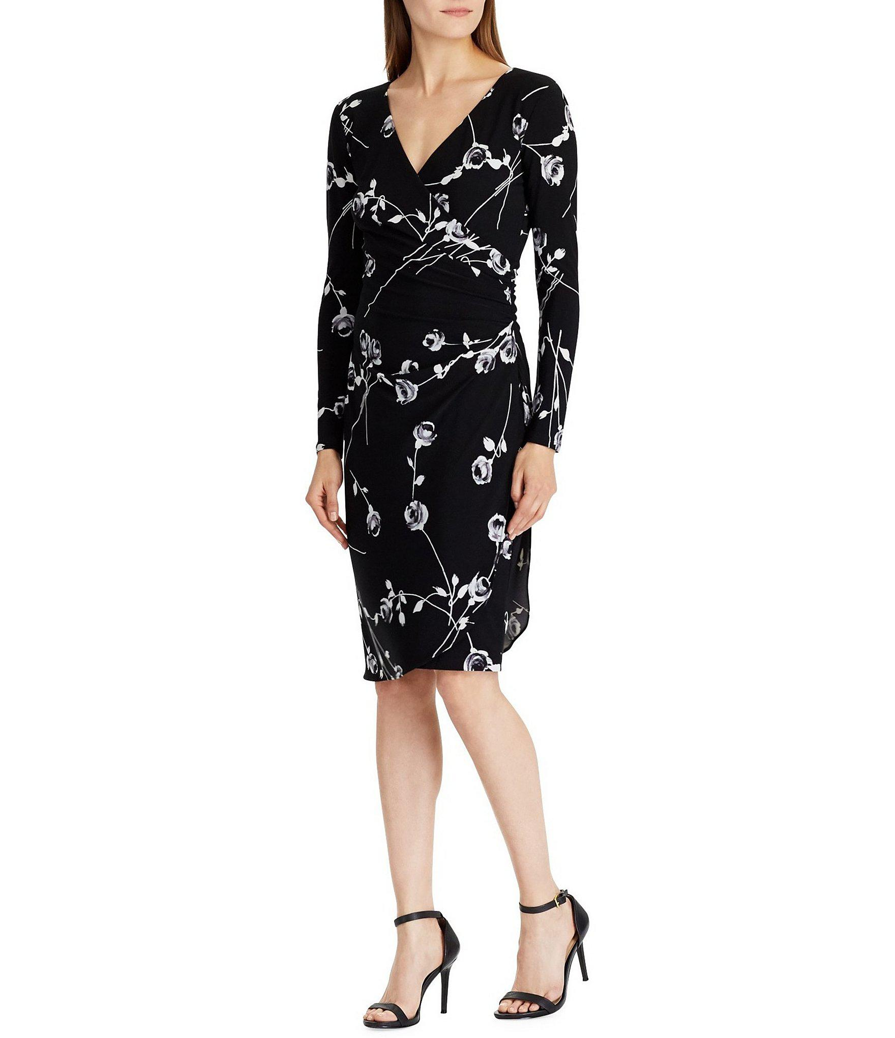e0244d83332 Lyst - Lauren by Ralph Lauren Floral Print Surplice Neckline Jersey ...