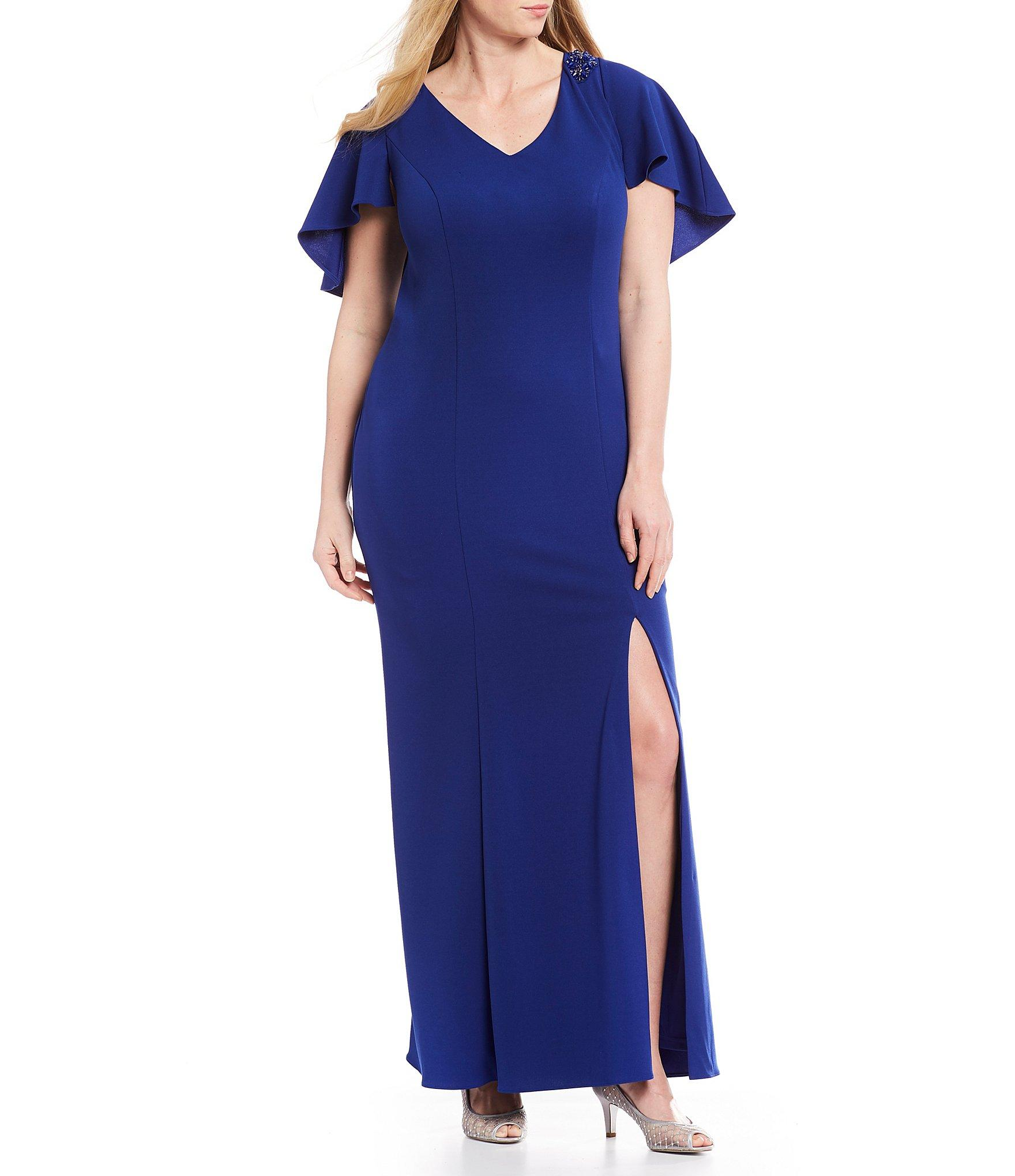 57842496c9233 Lyst - Adrianna Papell Plus Size Capelet Front Slit Crepe Gown in Blue