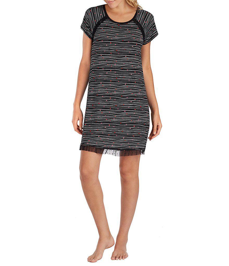 Lyst - Kensie Heart-print Jersey Sleepshirt in Black 24663058c
