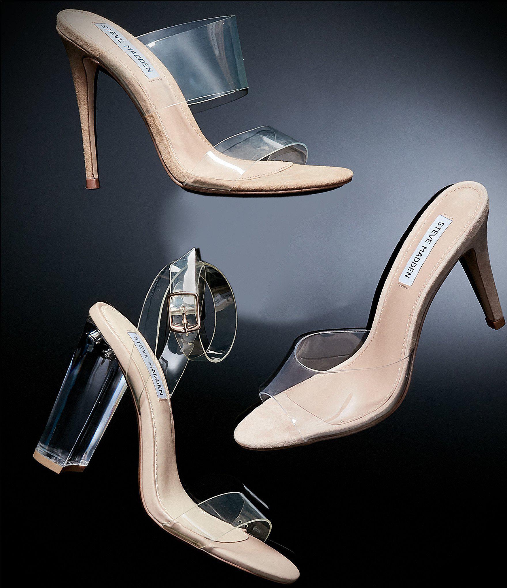 9e034bfe456 Steve Madden Erin Clear Stiletto Sandals - Lyst