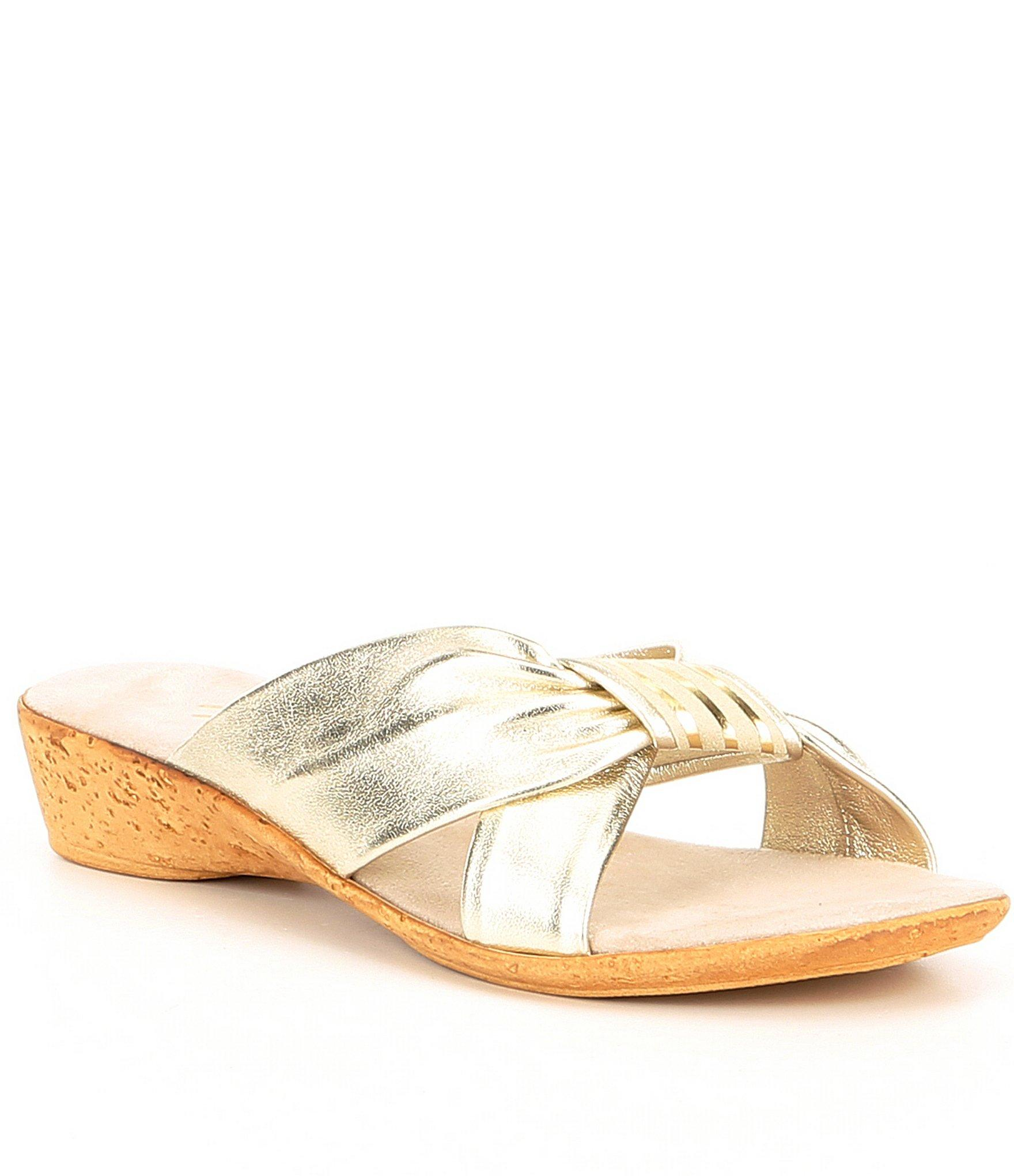 8784a5eef52 Onex. Women s Oasis Leather Cross-band Slide Wedge Sandals