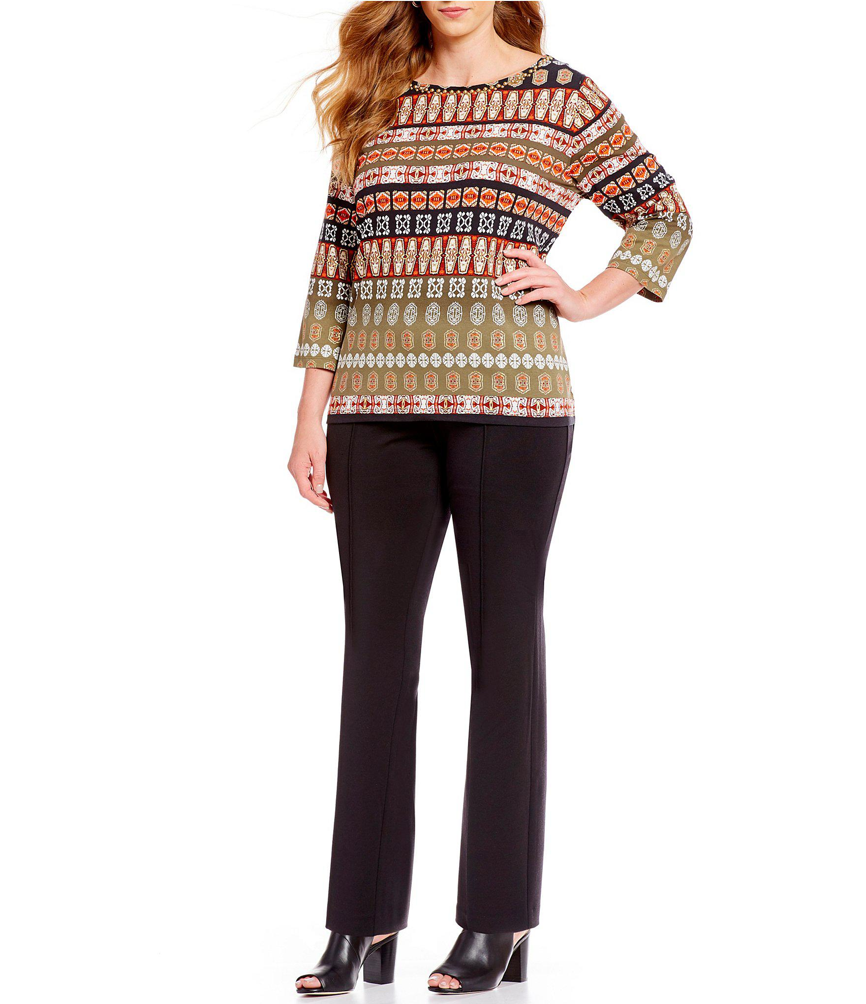 3ac72e2c63a46 Ruby Rd - Multicolor Plus Size Embellished Boat Neck Bands Border Print  Foil Detail Knit Top. View fullscreen