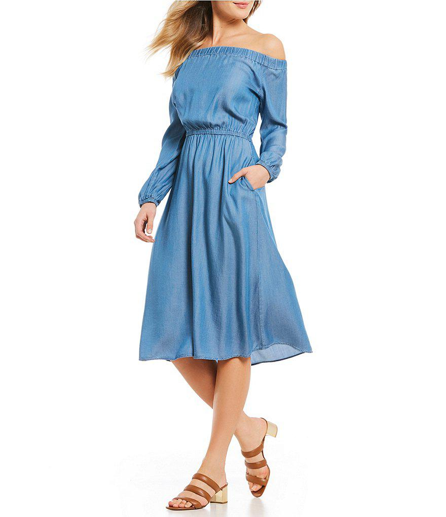 f222ab0f9e7 MICHAEL Michael Kors Off-the-shoulder Long Sleeve Denim Midi Dress ...