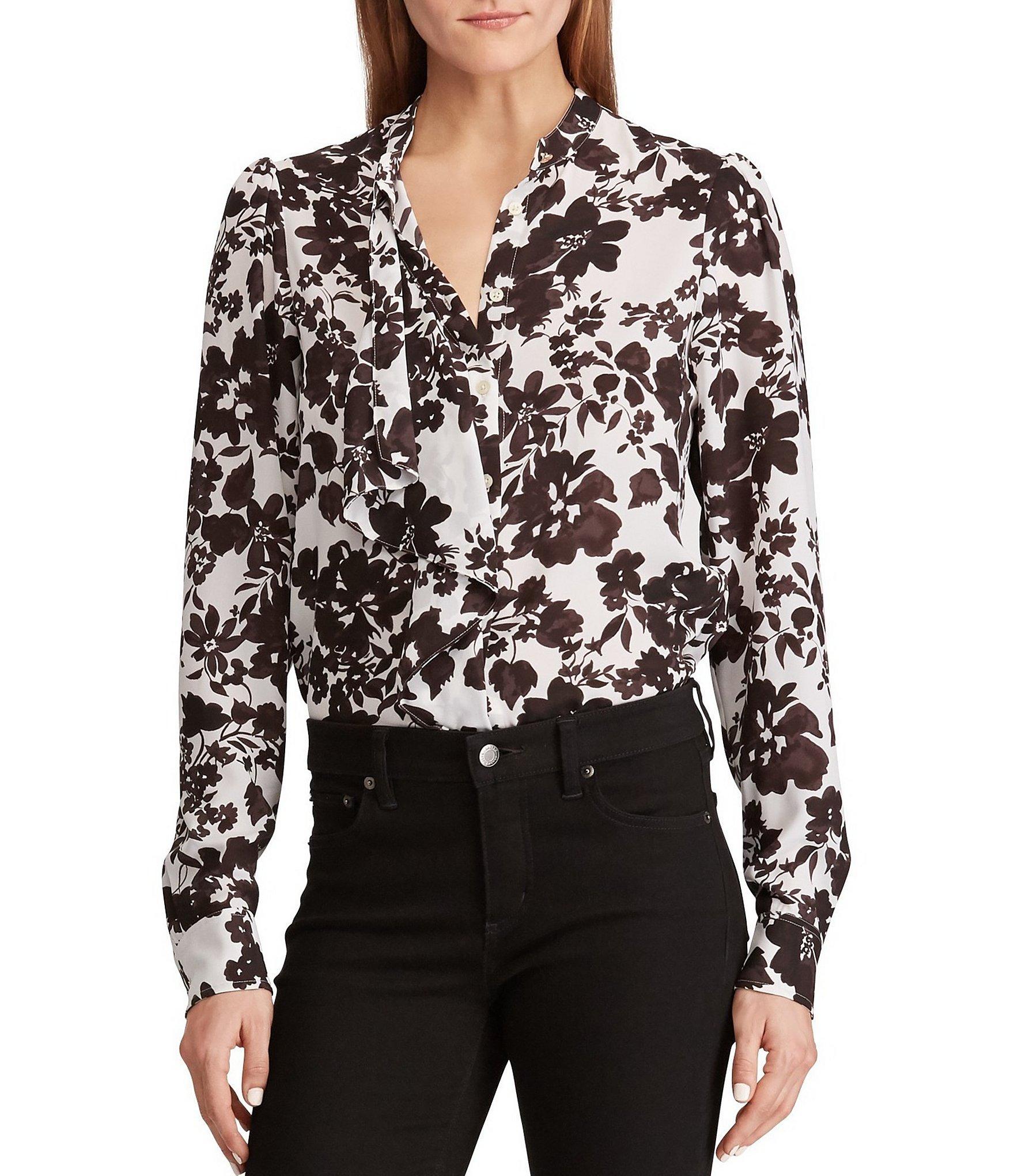 ef58e2718855dd Lauren by Ralph Lauren. Women's Black Ruffled Floral Print Button Front  Georgette Shirt