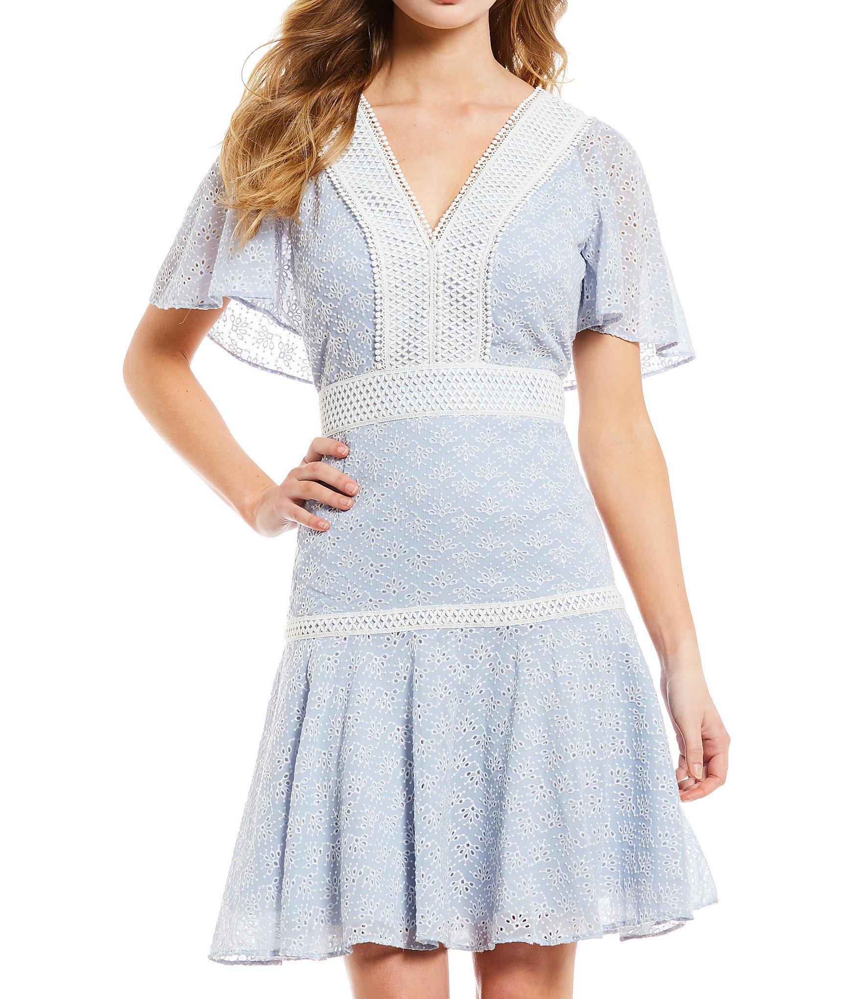 828567924 Gianni Bini Alice Eyelet V-neck Drop Waist Dress in Blue - Save 40 ...