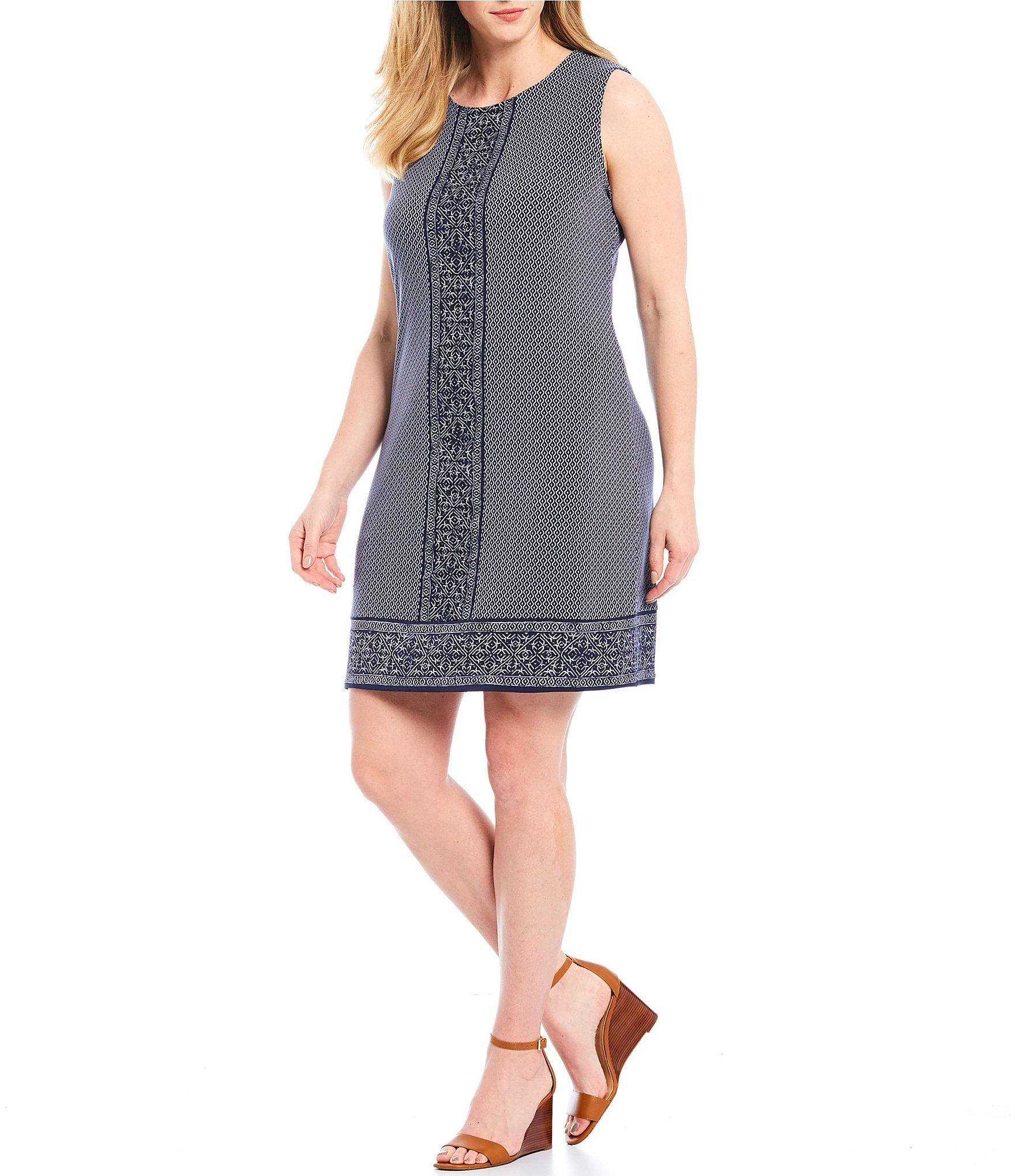 8956fcfb1bd MICHAEL Michael Kors. Women s Blue Plus Size Seaside Geometric Border Tile  Print Shift Dress