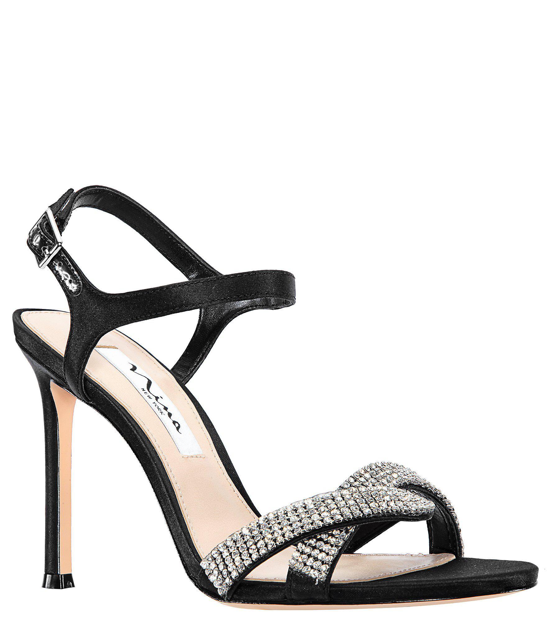2a4b778a449e7d Lyst - Nina Davia Satin And Rhinestone Dress Sandals in Black