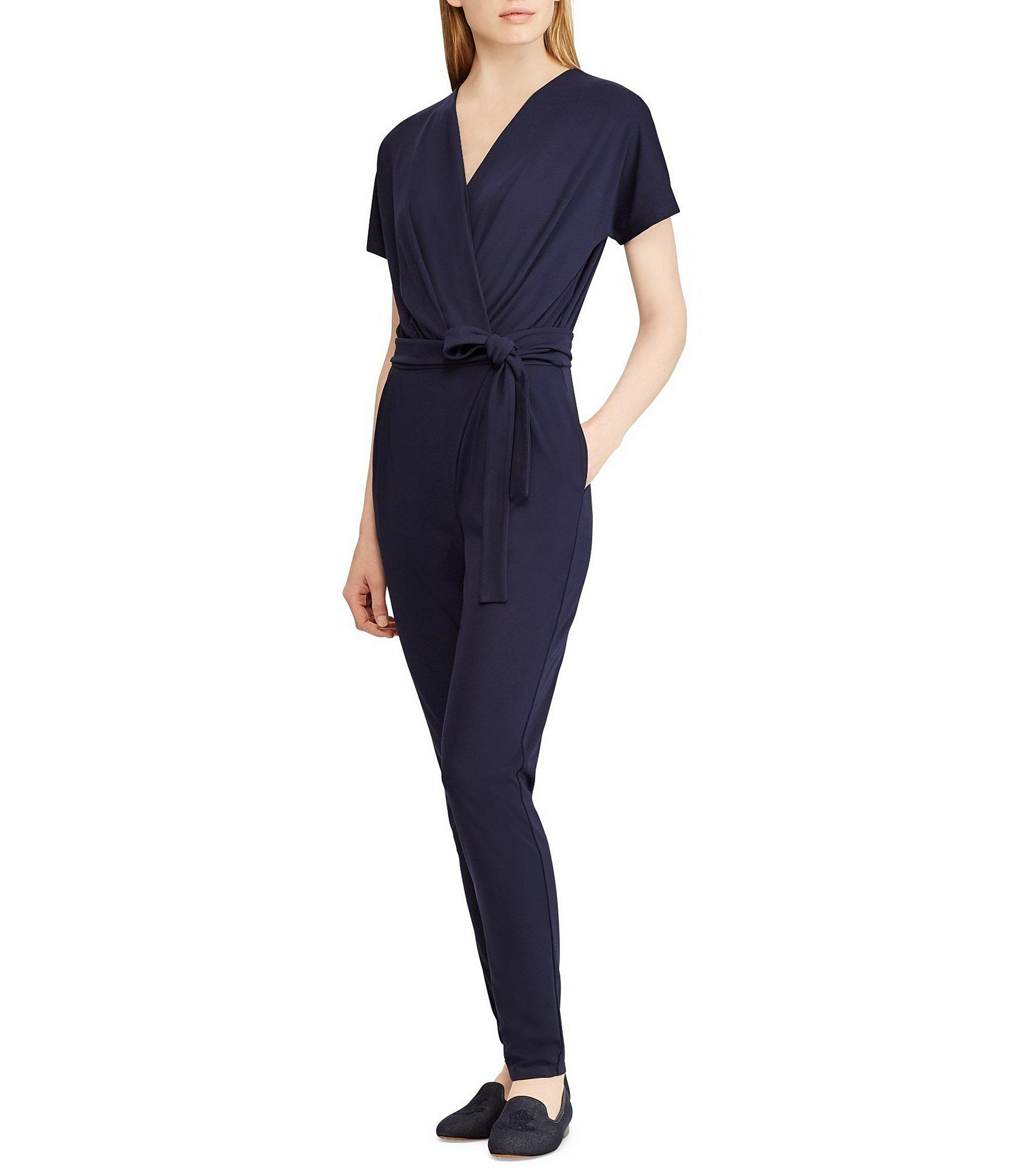 6c96a0862f57 Lyst - Lauren By Ralph Lauren Matte Jersey Surplice Jumpsuit in Blue