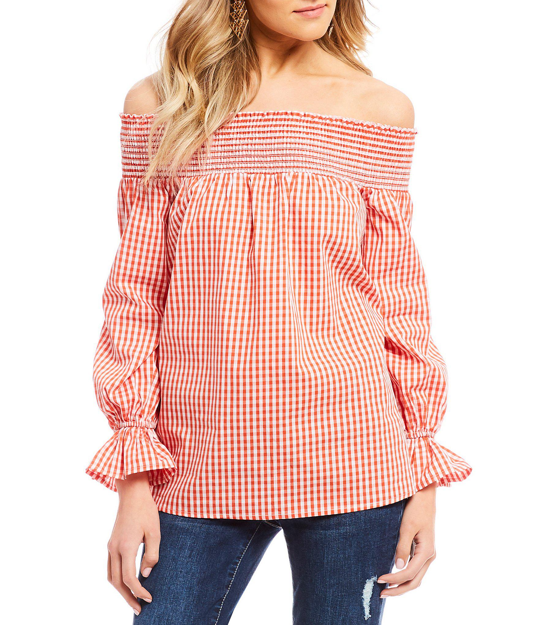 dc16bcec4e26fd Lyst - Soprano Off-the-shoulder Gingham-printed Top