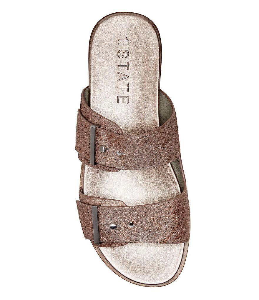 Ocel Leather Double Buckle Banded Sandals QmvRJRM3IS