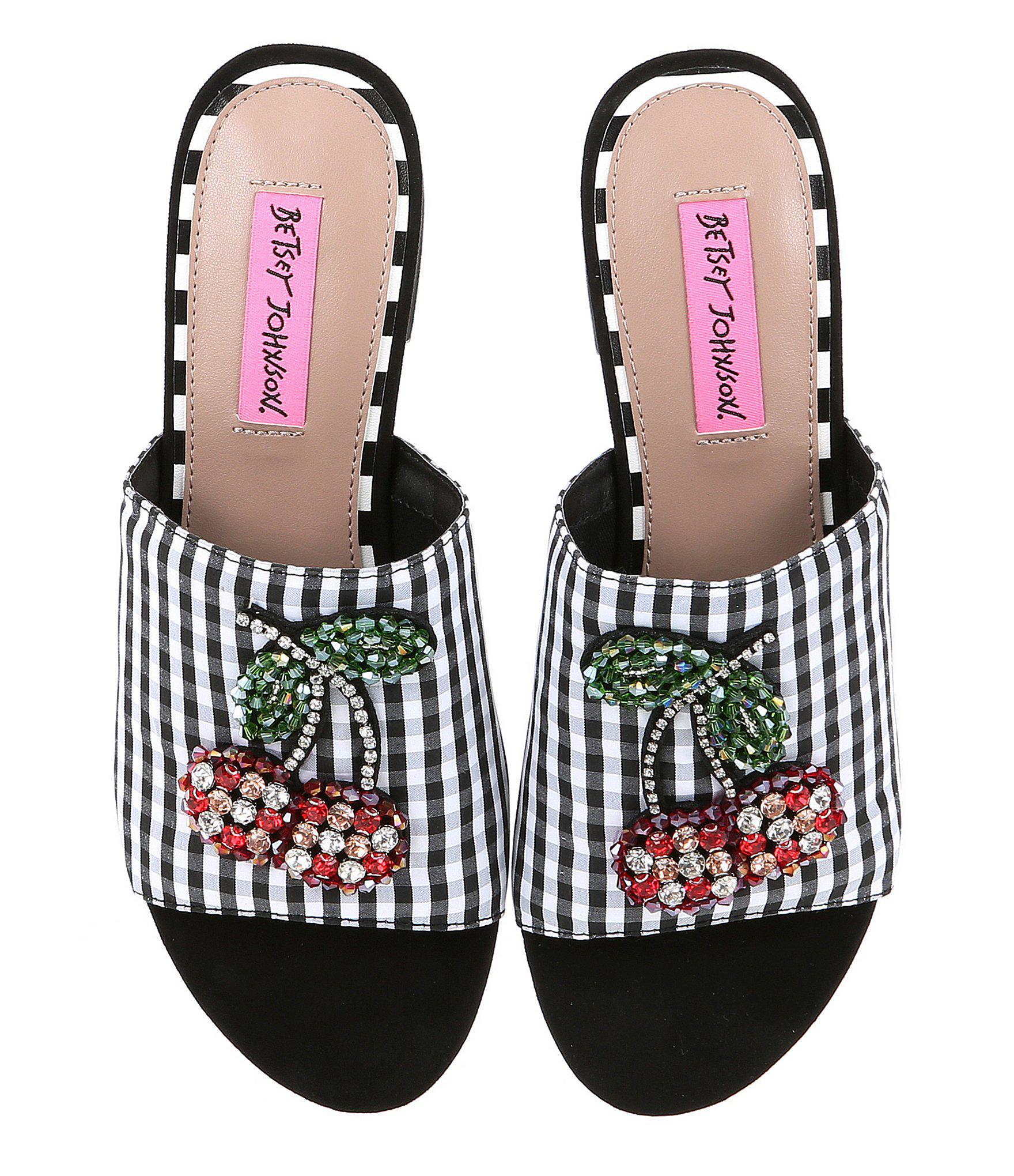 899dac63151 Lyst - Betsey Johnson Heat Gingham Jeweled Cherry Slide Sandals in Black