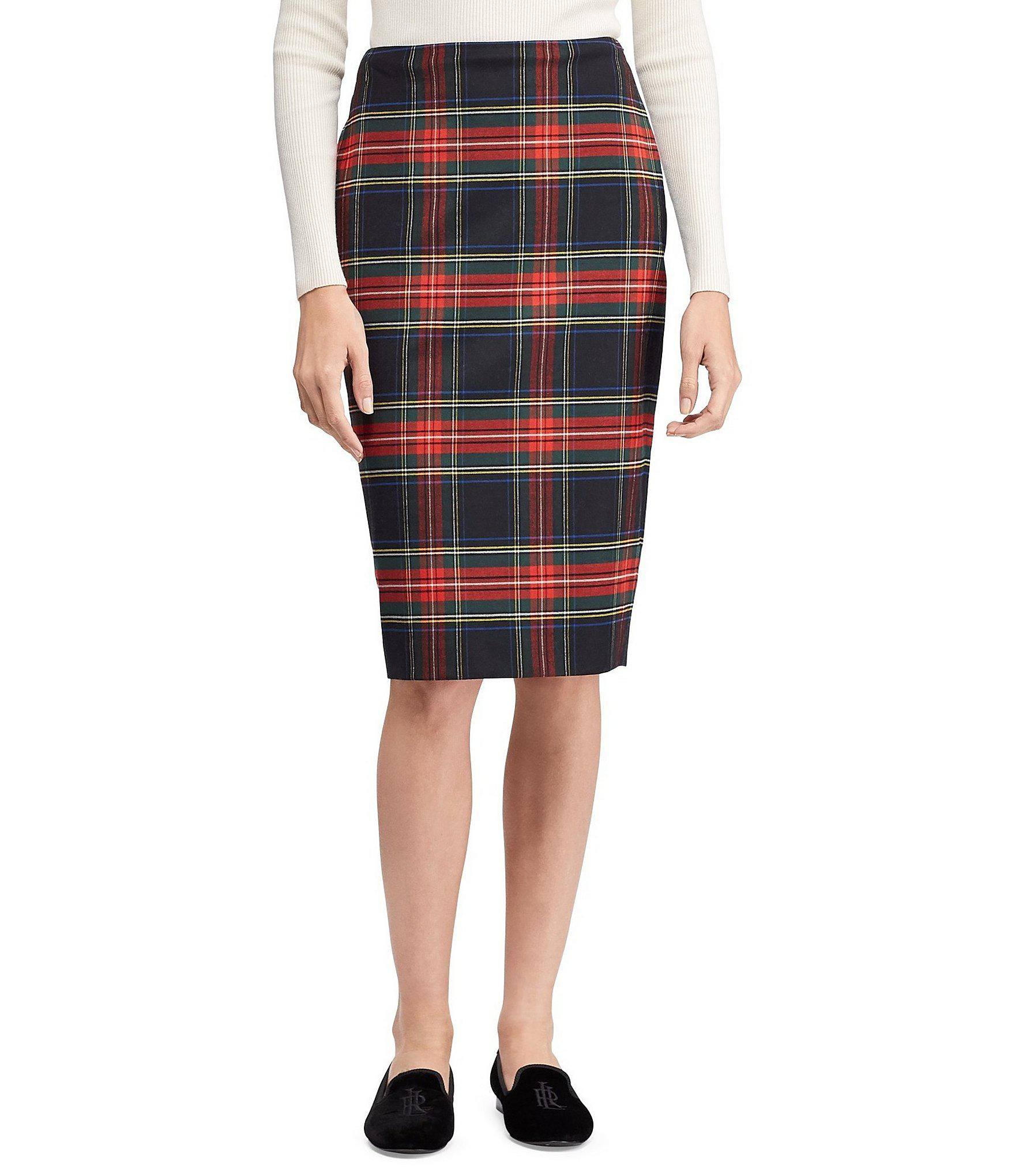 Blend Pencil Plaid Skirt By Lyst Lauren Tartan Ralph Wool CrdxeBo