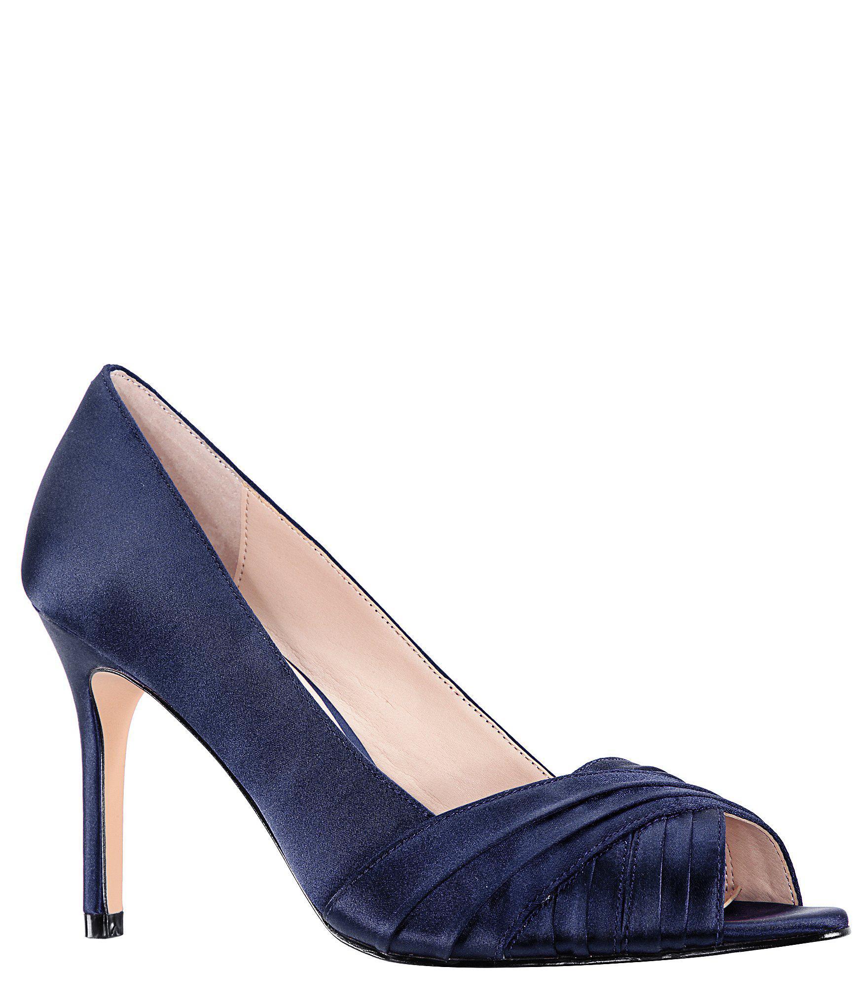 6e977398add7 Nina Chezare Satin Peep Toe Pumps in Blue - Lyst