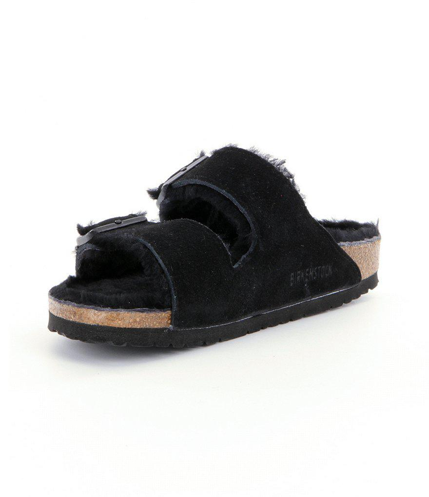 Women's Arizona Suede Double Buckle Fur Lined Shearling Sandals lw0iehCi