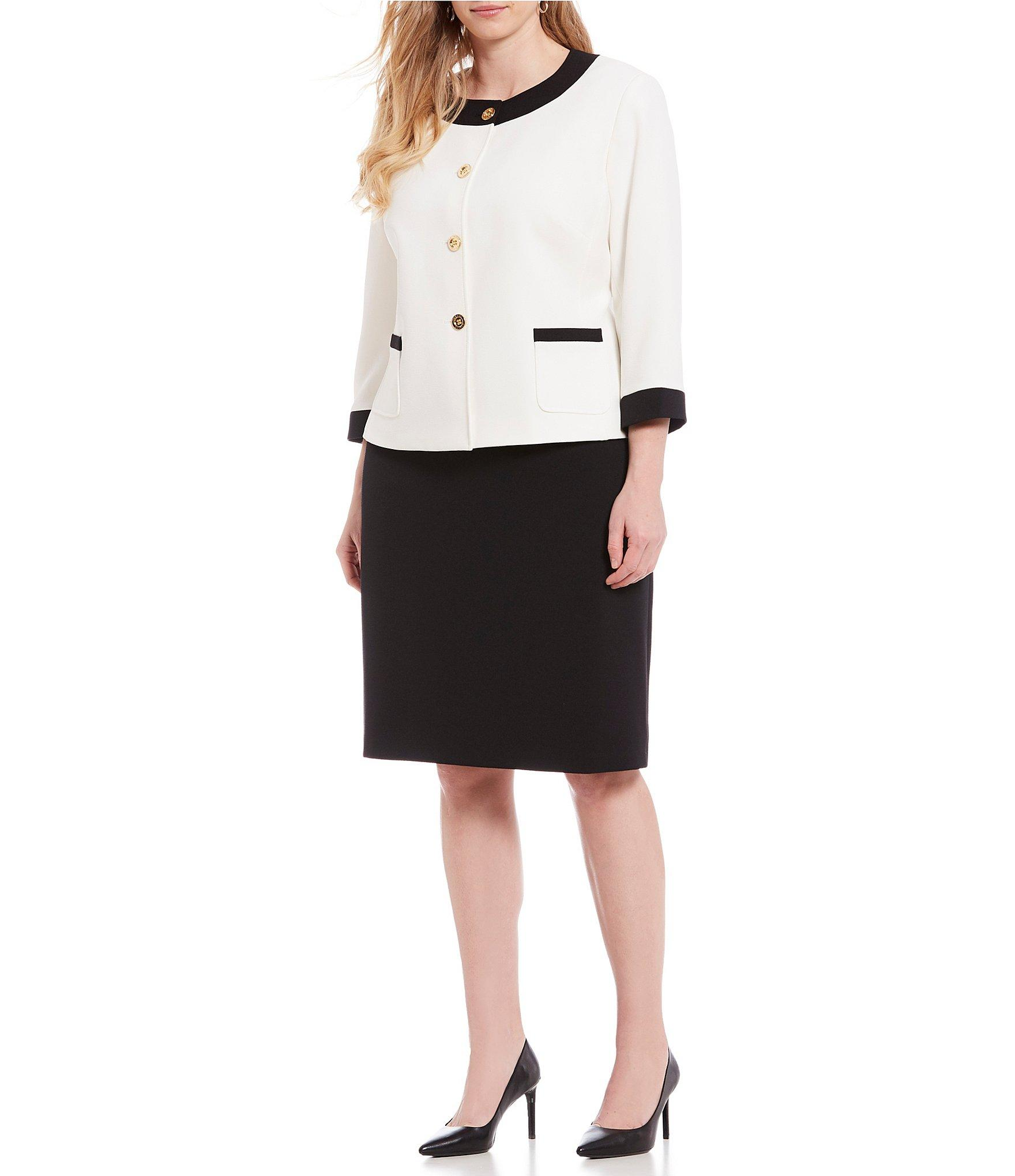 7a64ba0f683 Lyst - Tahari Plus Size Crepe Contrast Framed Jacket Suit in White