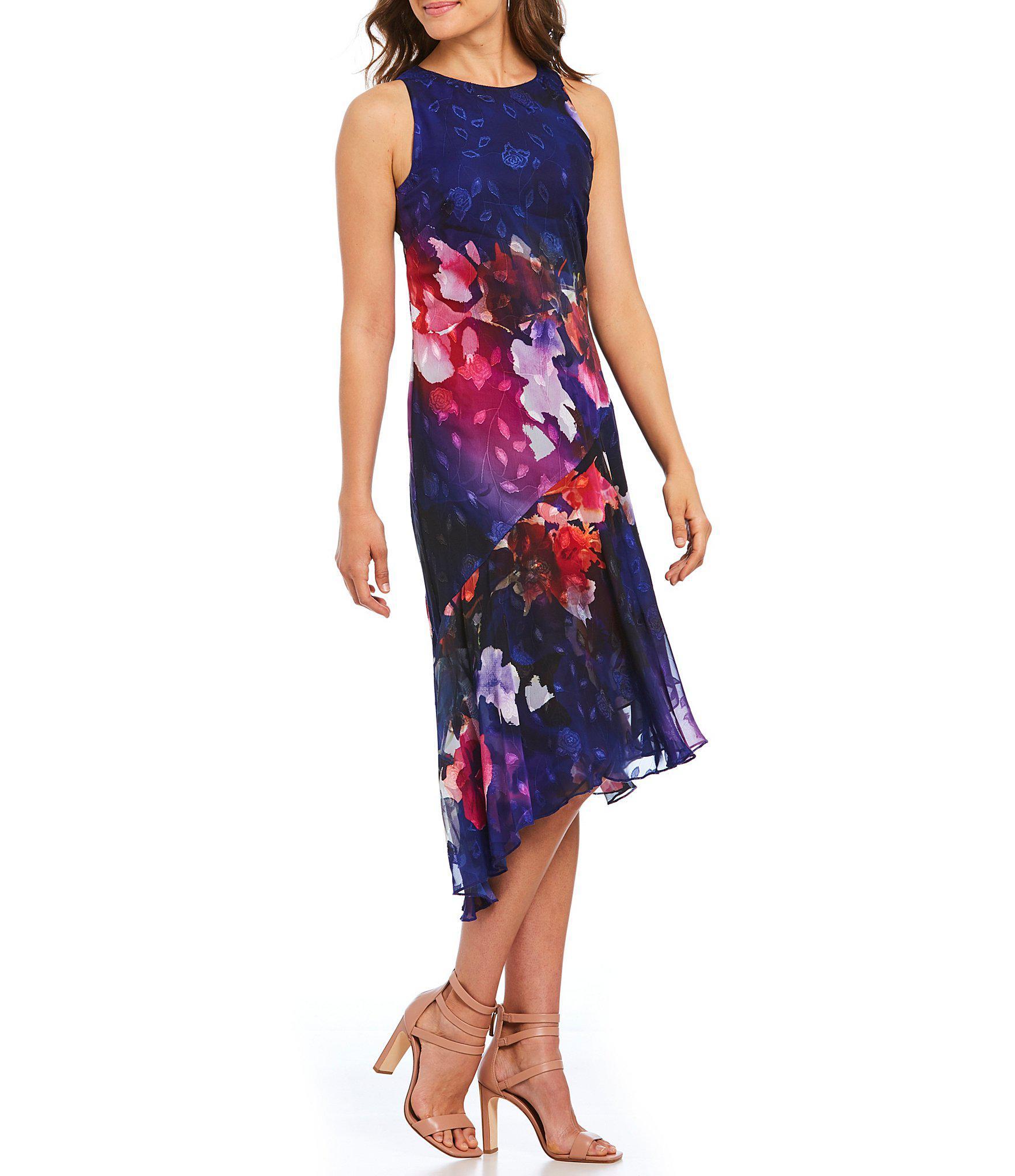 e116af2c80 Lyst - DKNY Donna Karan New York Floral Print Asymmetric Hem Dress ...