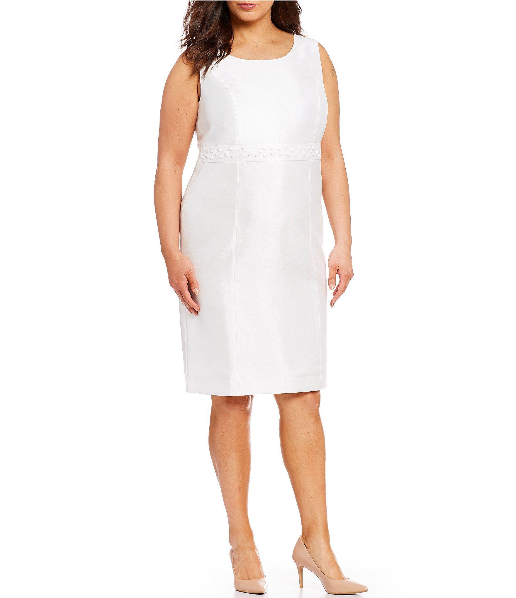 7f4b1fc6692f Lyst - Kasper Plus Size Shantung Embellished Waist Sheath Dress in White