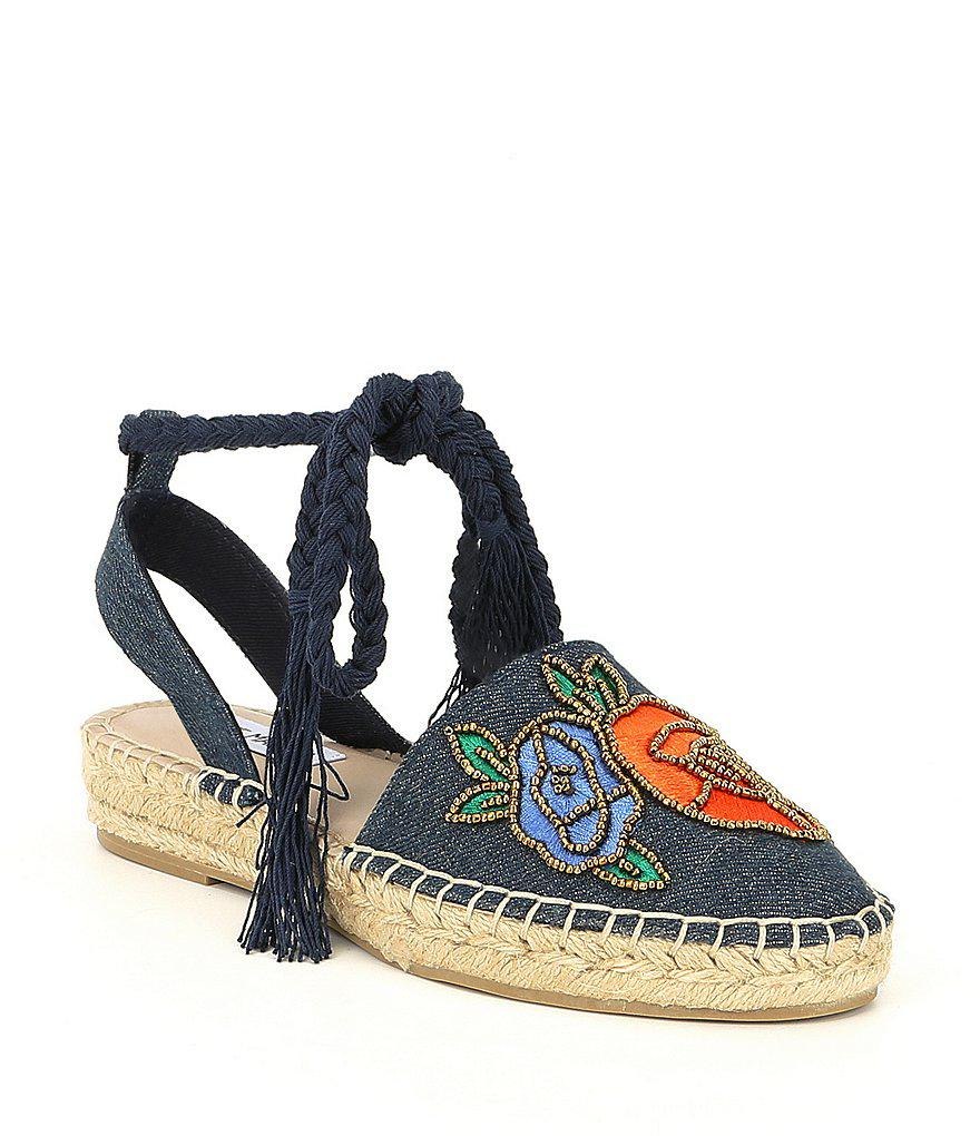 Mesa Beaded Rose Floral Embroidered Ankle Wrap Espadrilles