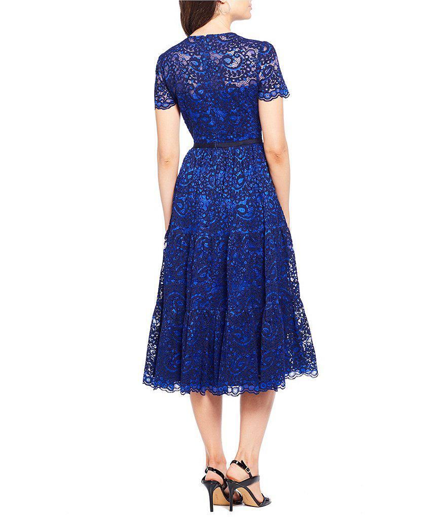 Lyst Maggy London Tiered Lace Midi Dress In Blue