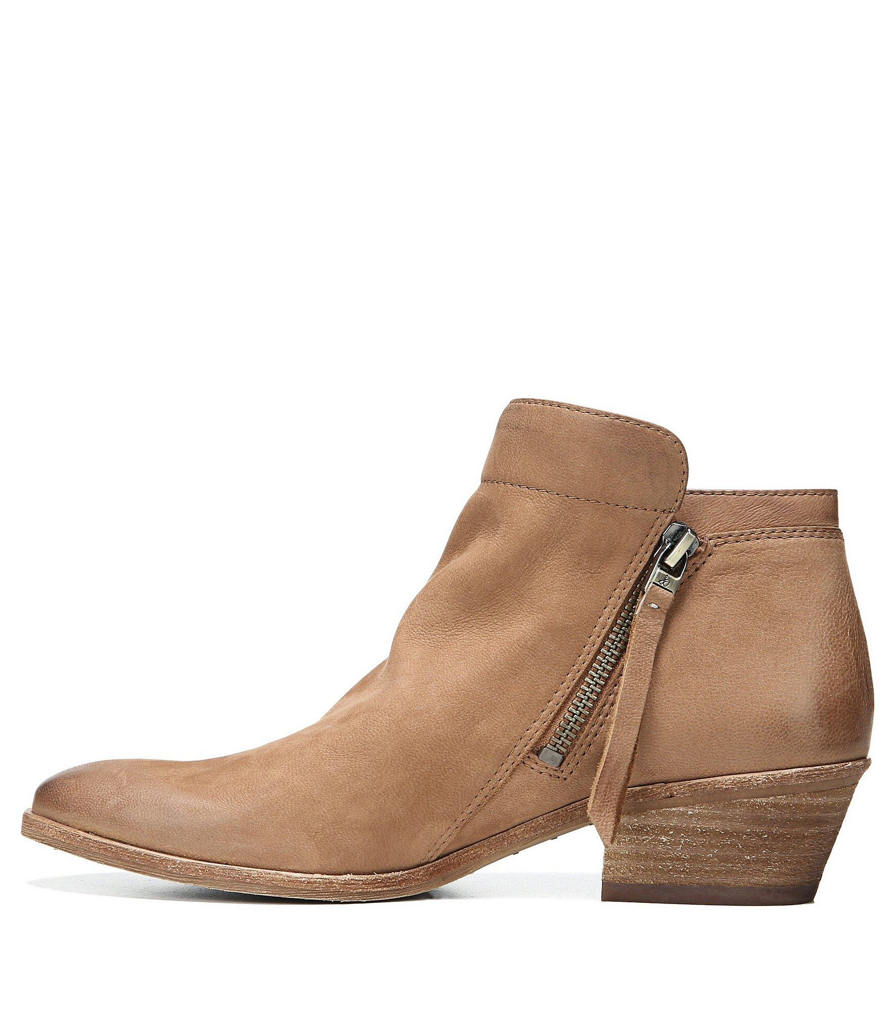 28130cdbac3512 Sam Edelman - Brown Packer Leather Block Heel Booties - Lyst. View  fullscreen