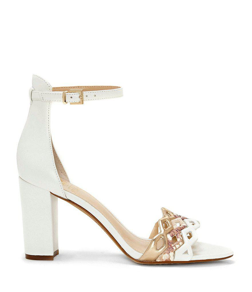 Vince Camuto Caveena Metallic Colorblock Ankle Strap Block Heel Dress Sandals j8ZYD4U