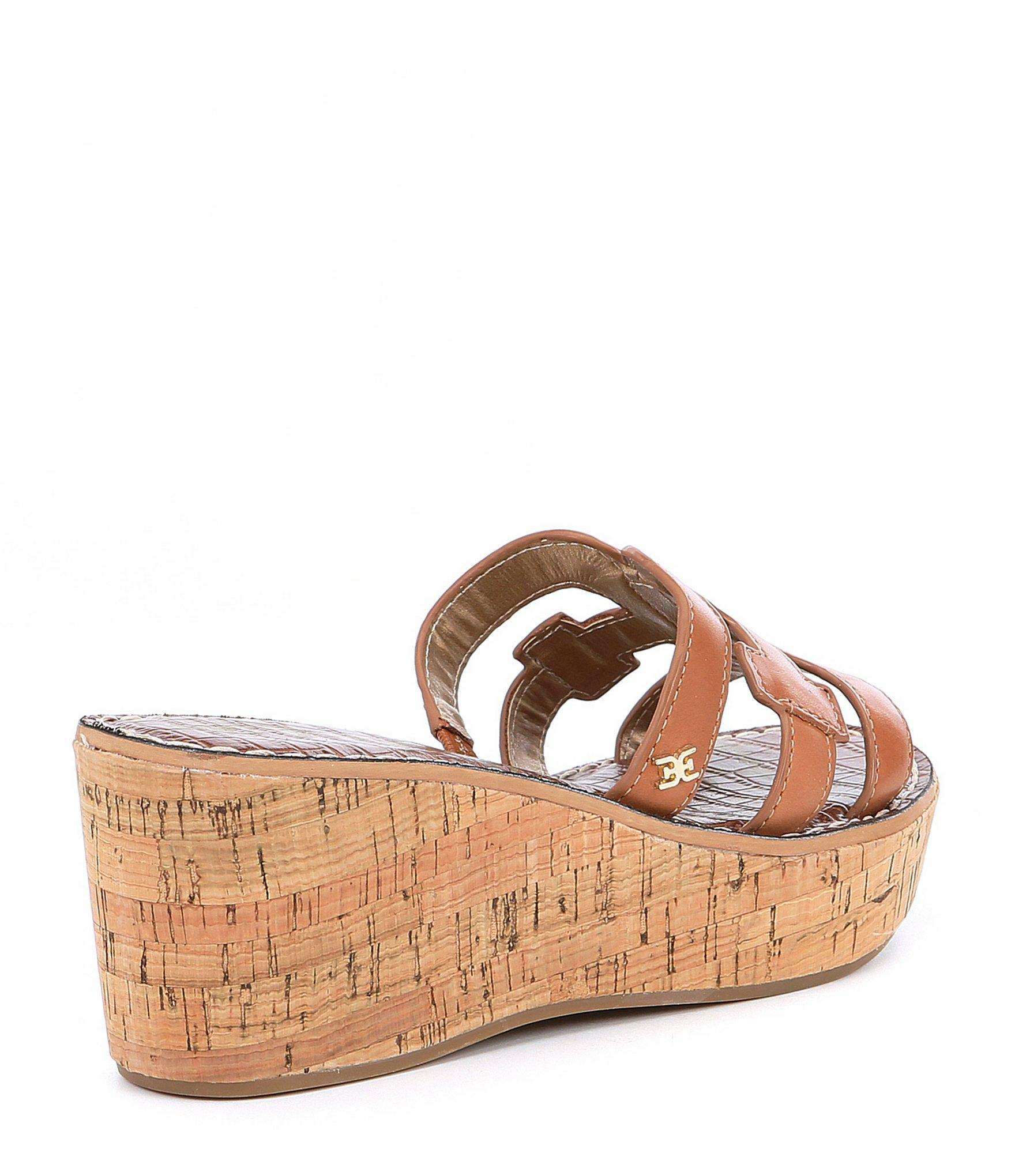 8dadc506fc86f Sam Edelman - Brown Regis Leather Wedge Sandals - Lyst. View fullscreen