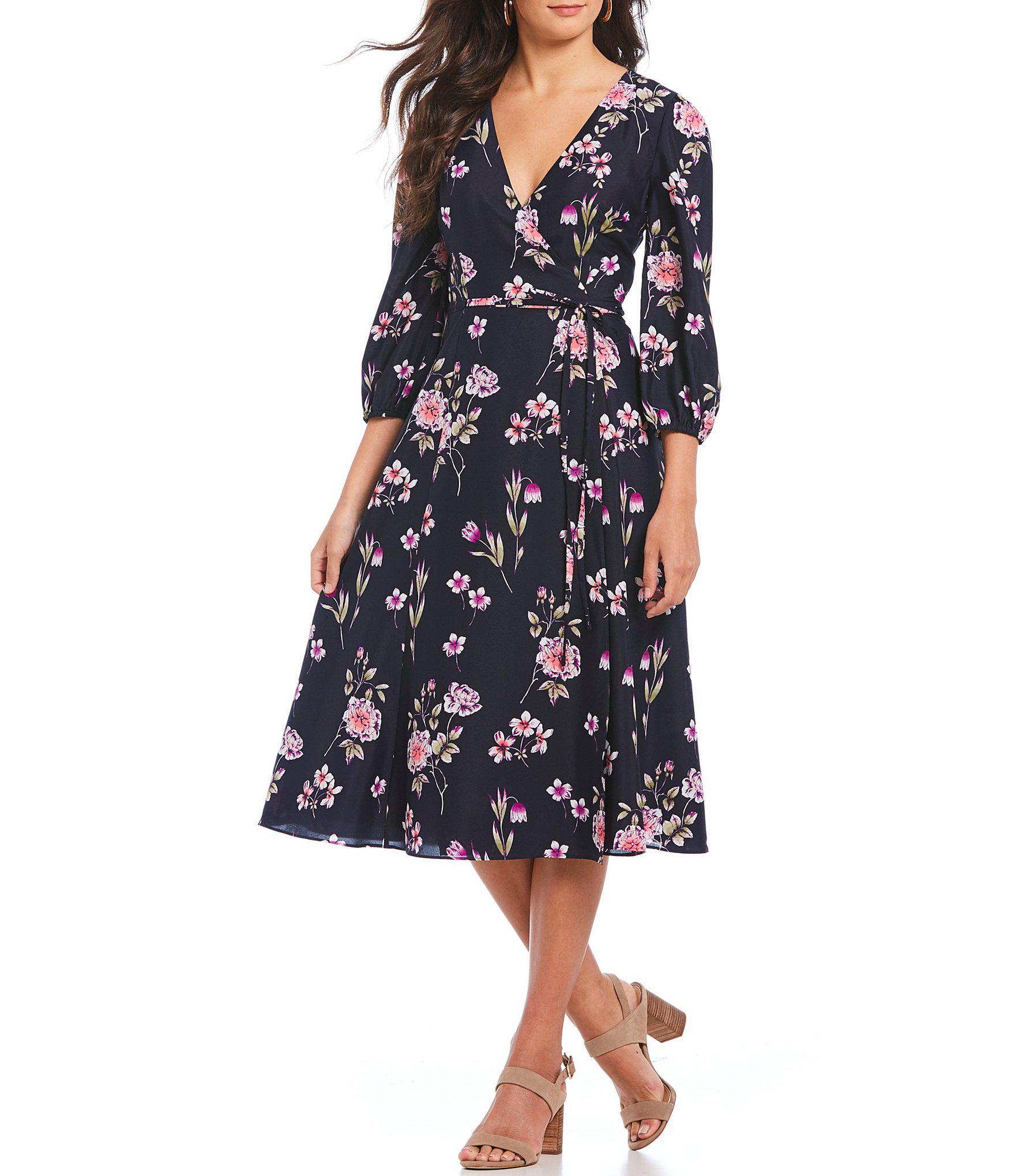 625ef3982c6b Lyst - Eliza J Floral Print Faux Wrap Style Midi Dress in Blue