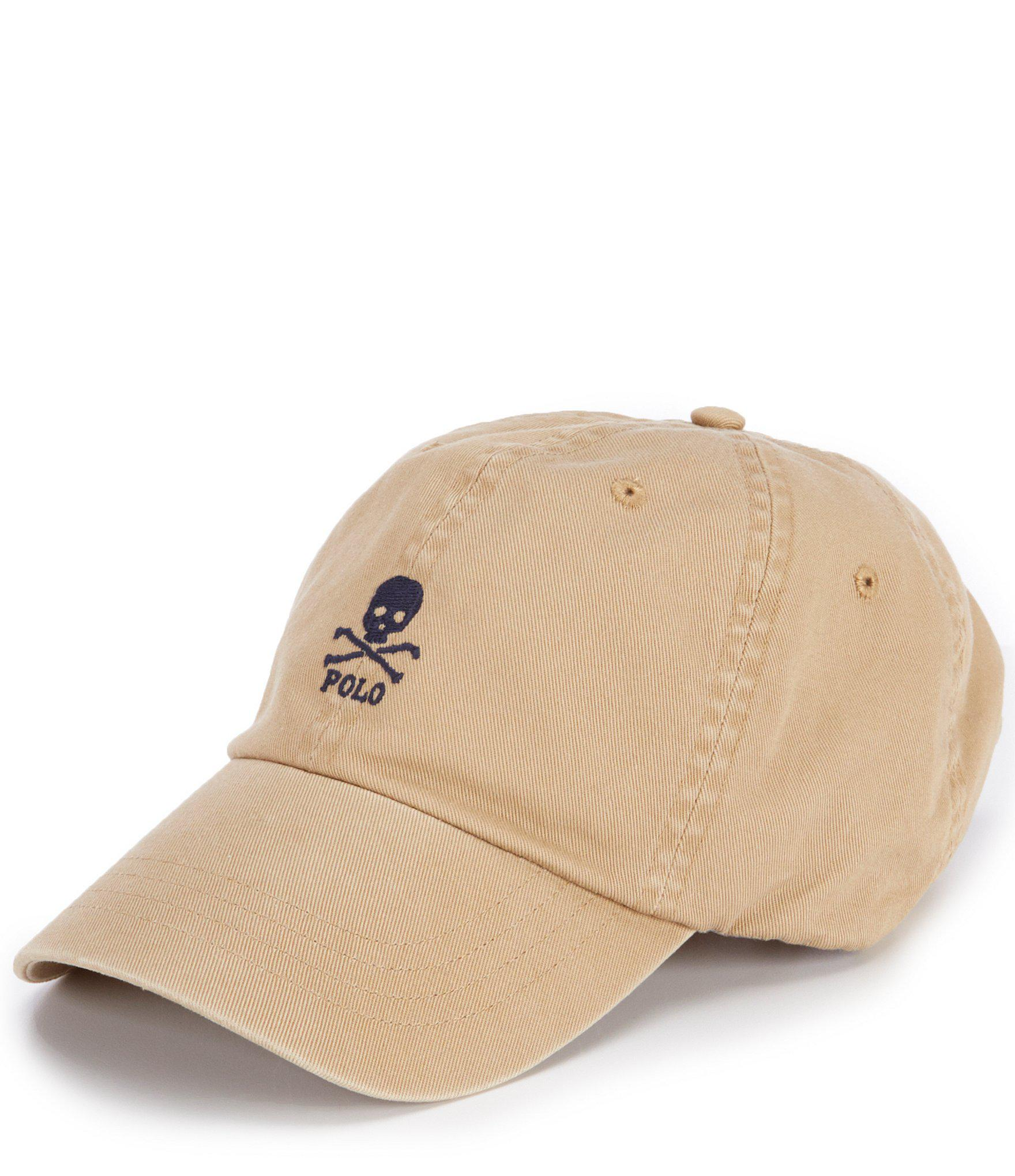 Lyst - Polo Ralph Lauren Skull-and-crossbones Chino Cap in Natural ... 373193e4a085