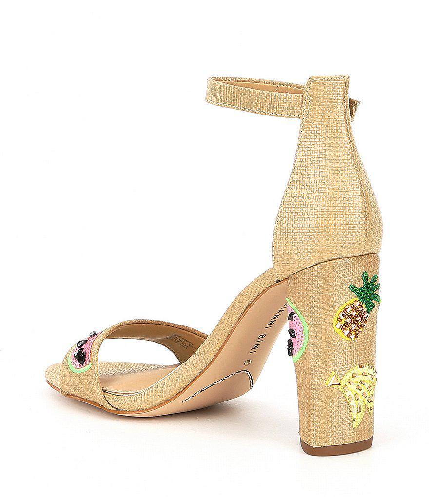 Gianni Bini Joenahtwo Two Piece Fruit Patch Embroidery Block Heel Sandals pF2BpFspM