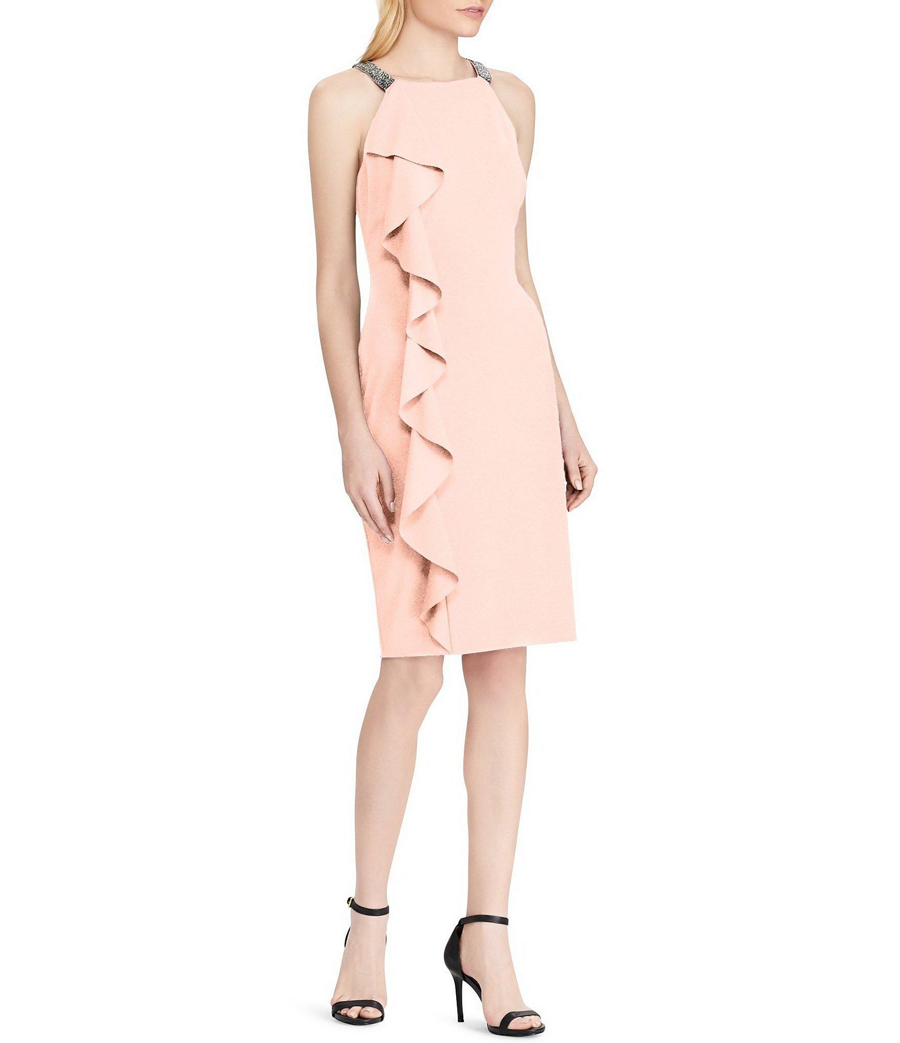 51558266 Lauren by Ralph Lauren Beaded Strap Ruffle Sheath Dress in Pink - Lyst