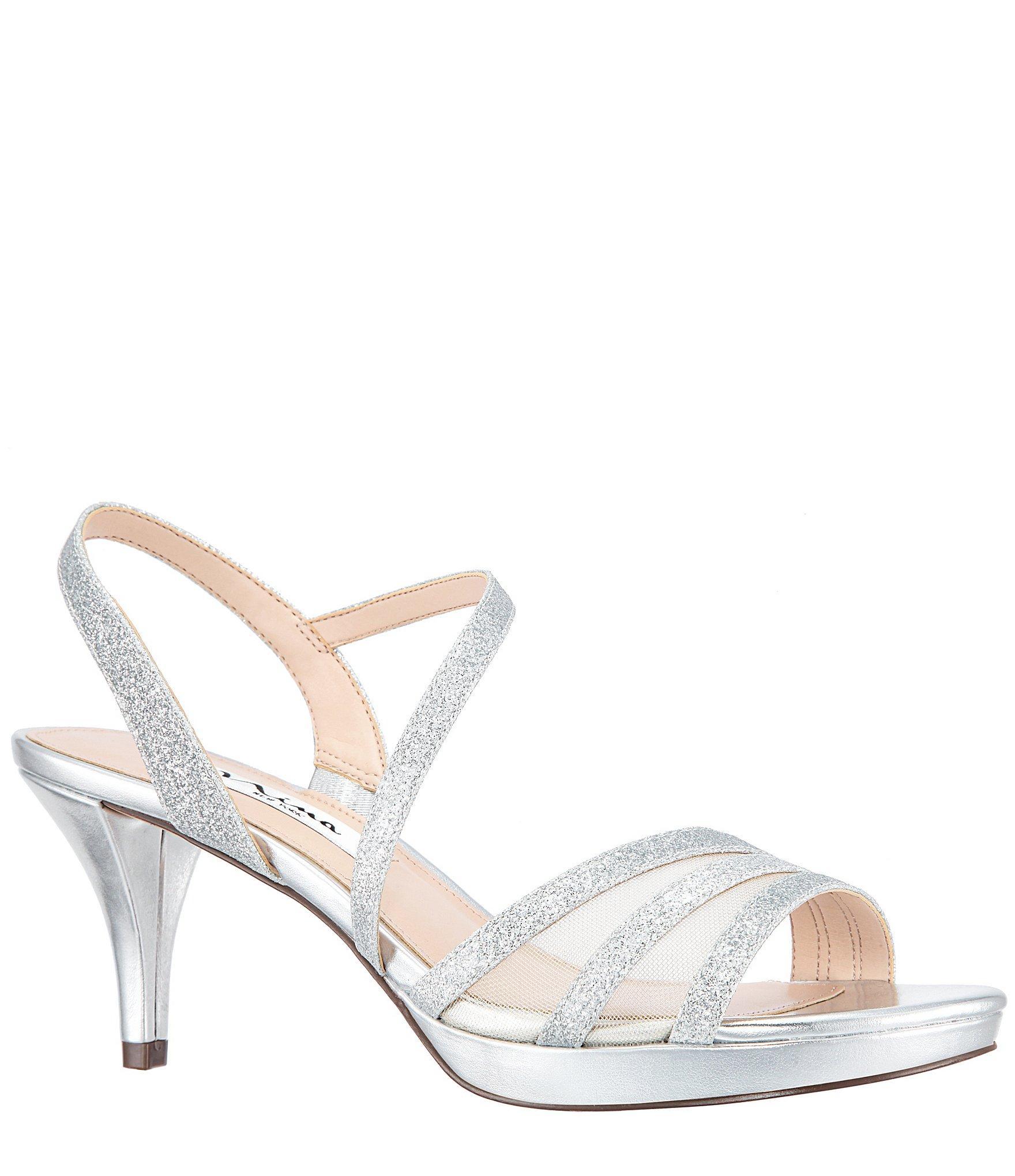 91d928c6ebb Lyst - Nina Nazima Glitter Strappy Dress Sandals in Metallic