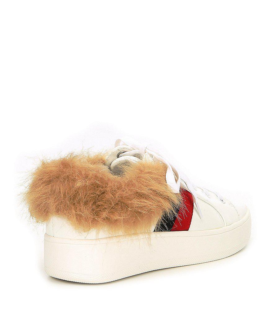 Belle Webbed Fur Sneakers 0cL3K