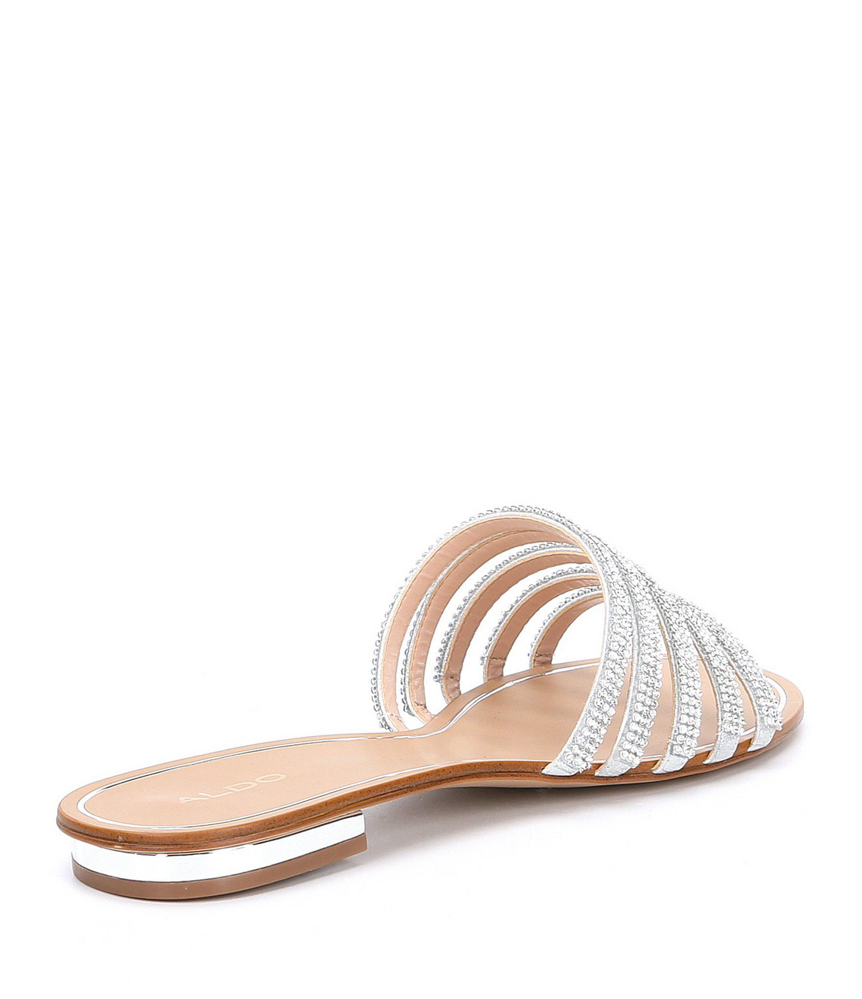 3902e242d Lyst aldo droelian rhinestone slides in metallic jpg 1760x2040 Aldo  rhinestone sandals