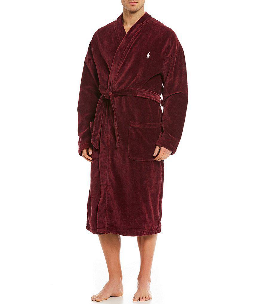 Polo ralph lauren Kimono Velour Robe in Red for Men | Lyst