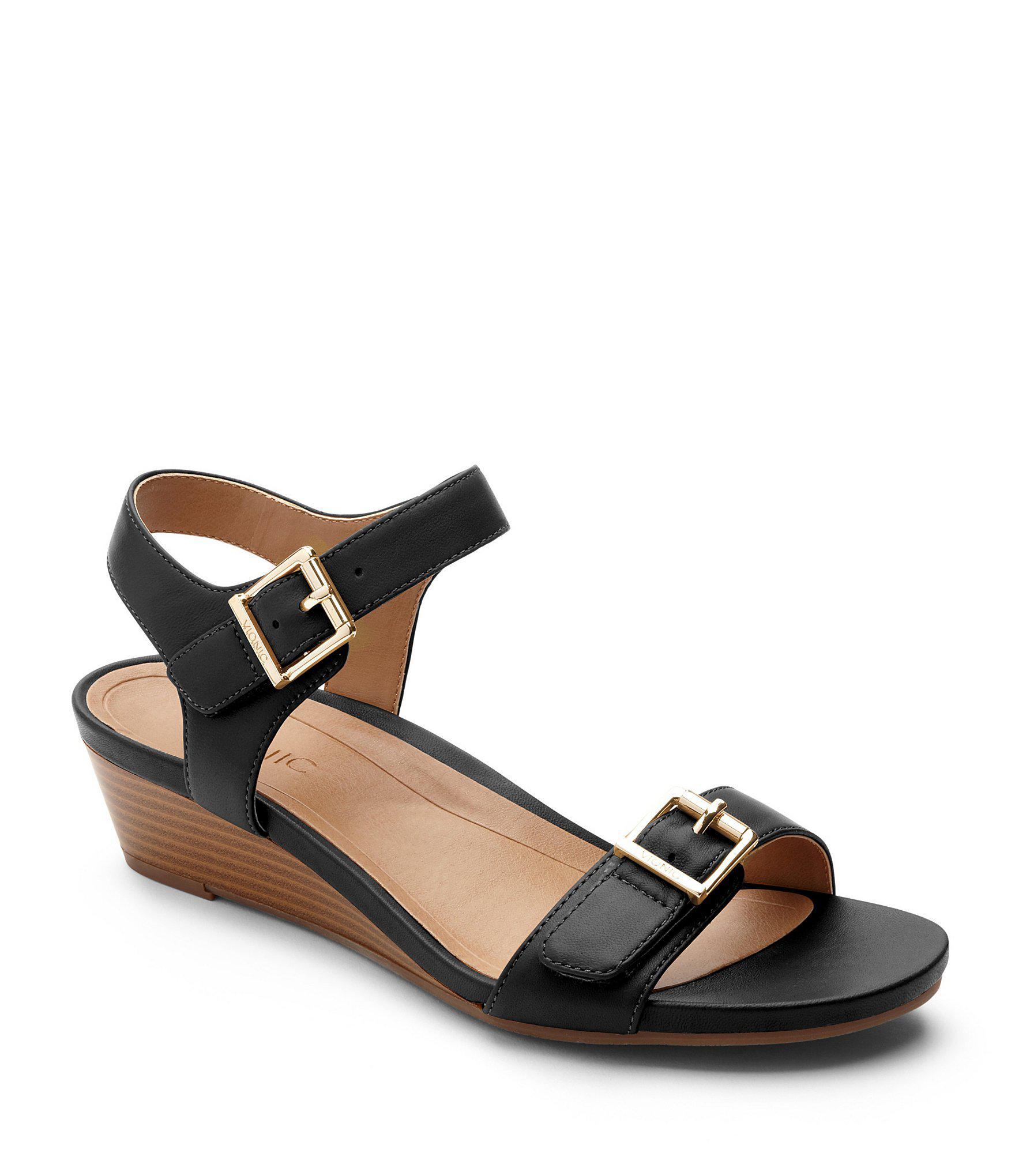 e85cd4ff724c9c Lyst - Vionic Port Frances Wedge Sandals in Black