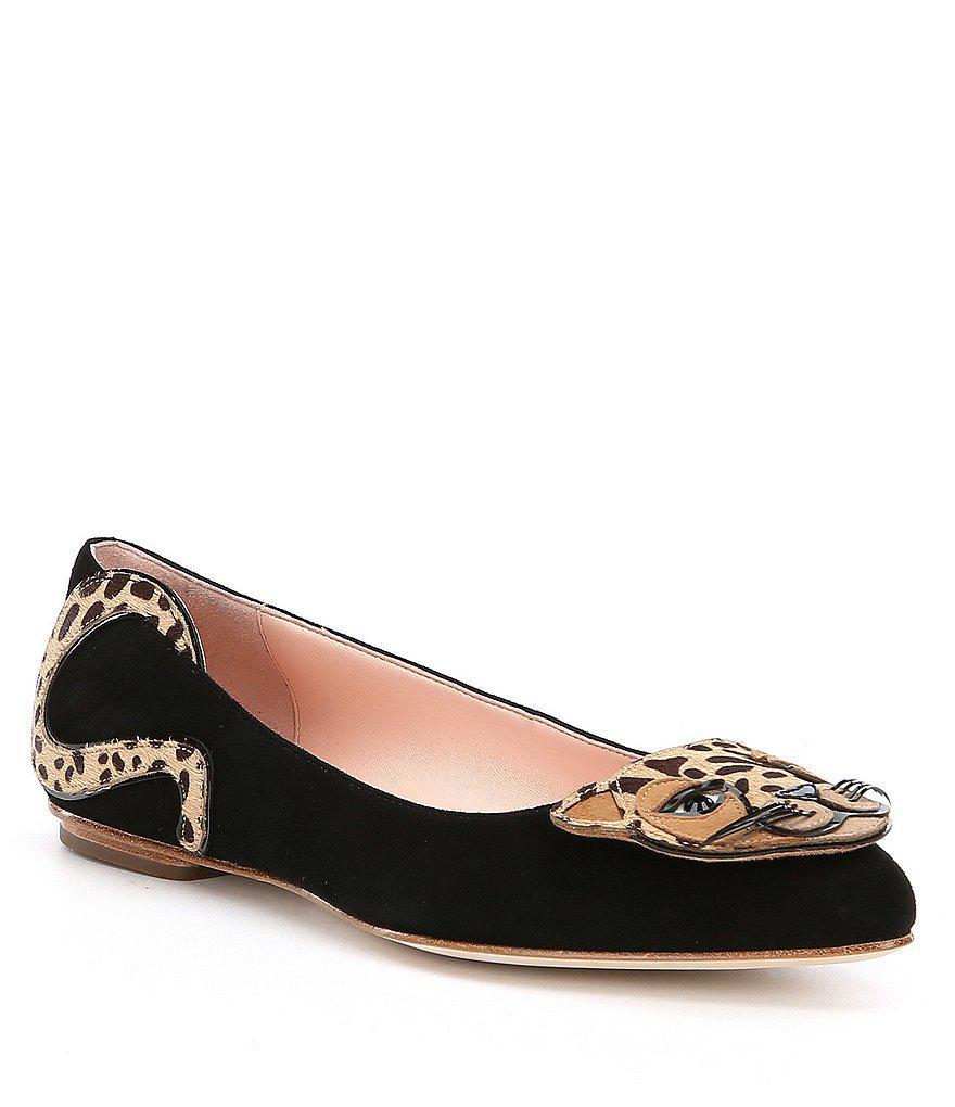 ca8a96d8dac9 Lyst - Kate Spade Norman Leopard Cat Flats in Black