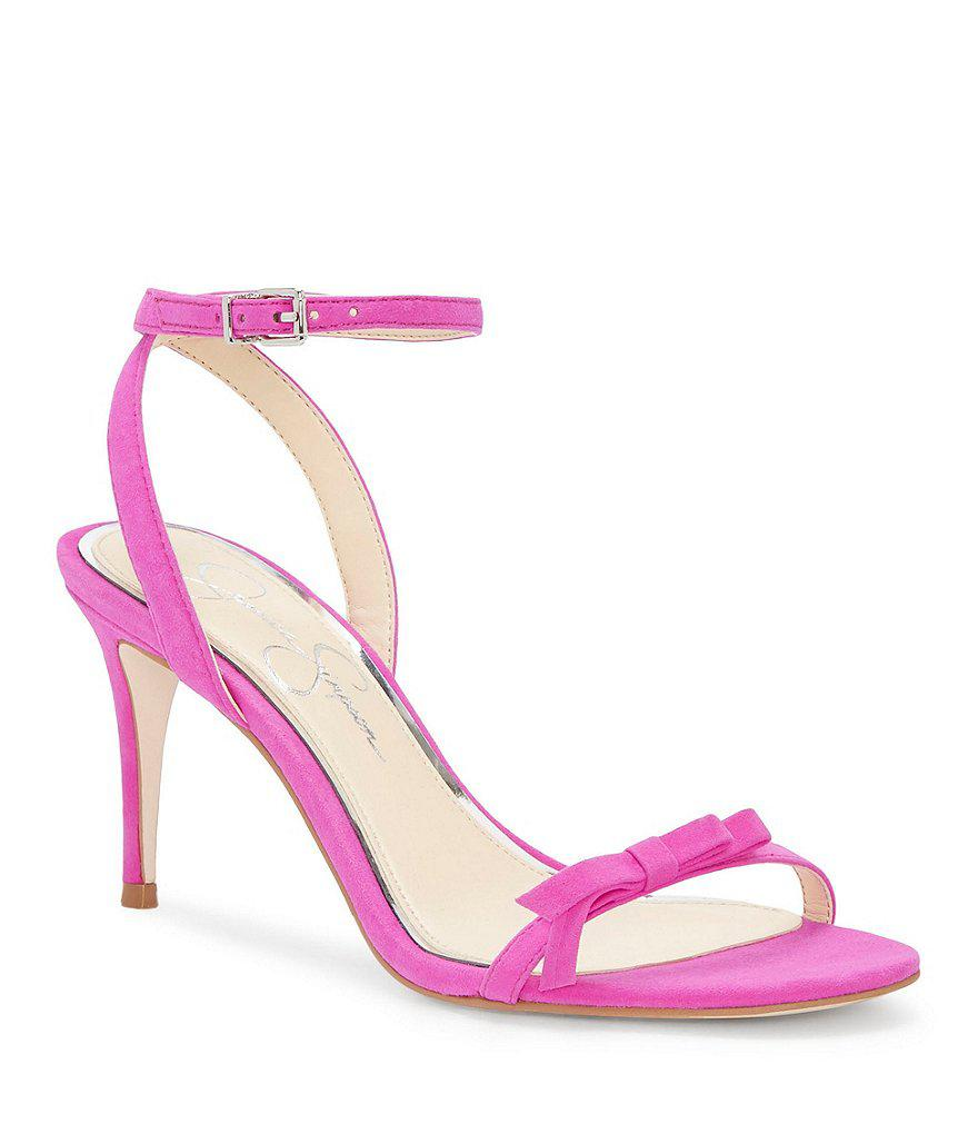 3c8fd586d0d0 Jessica Simpson Purella Suede Ankle Strap Sandals in Pink - Lyst