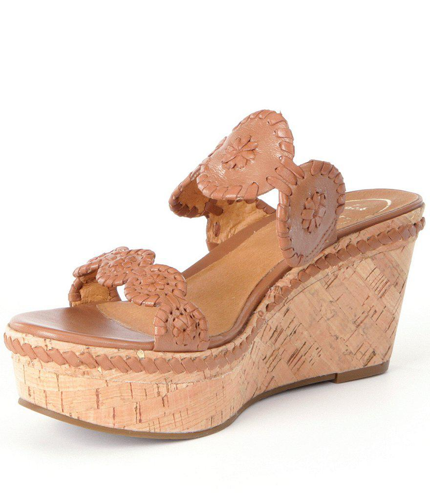 Leigh Leather Whipstitched Double Banded Wedge Sandals Fa9KWOxI