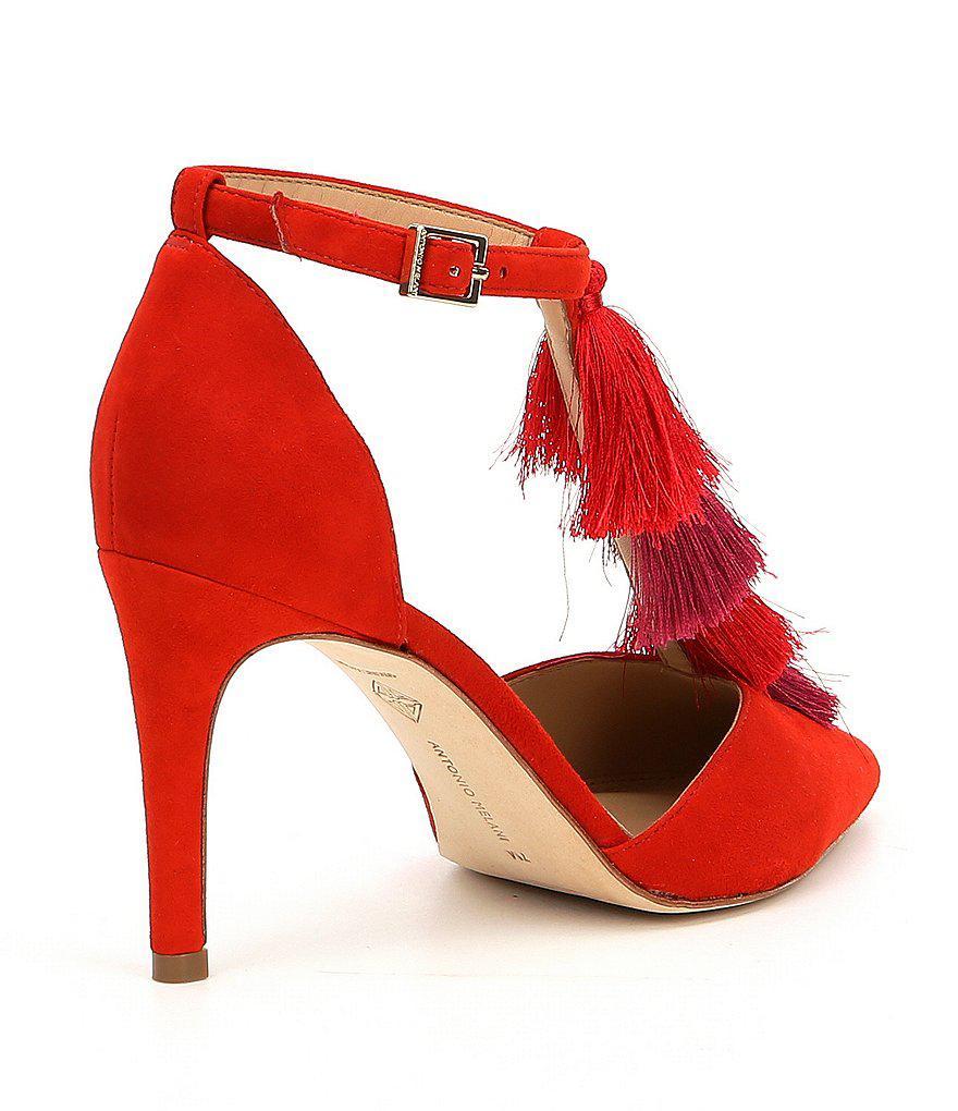 Antonio Melani Camalia Suede T-Strap Multi Color Tassel Dress Pumps tCwsJR
