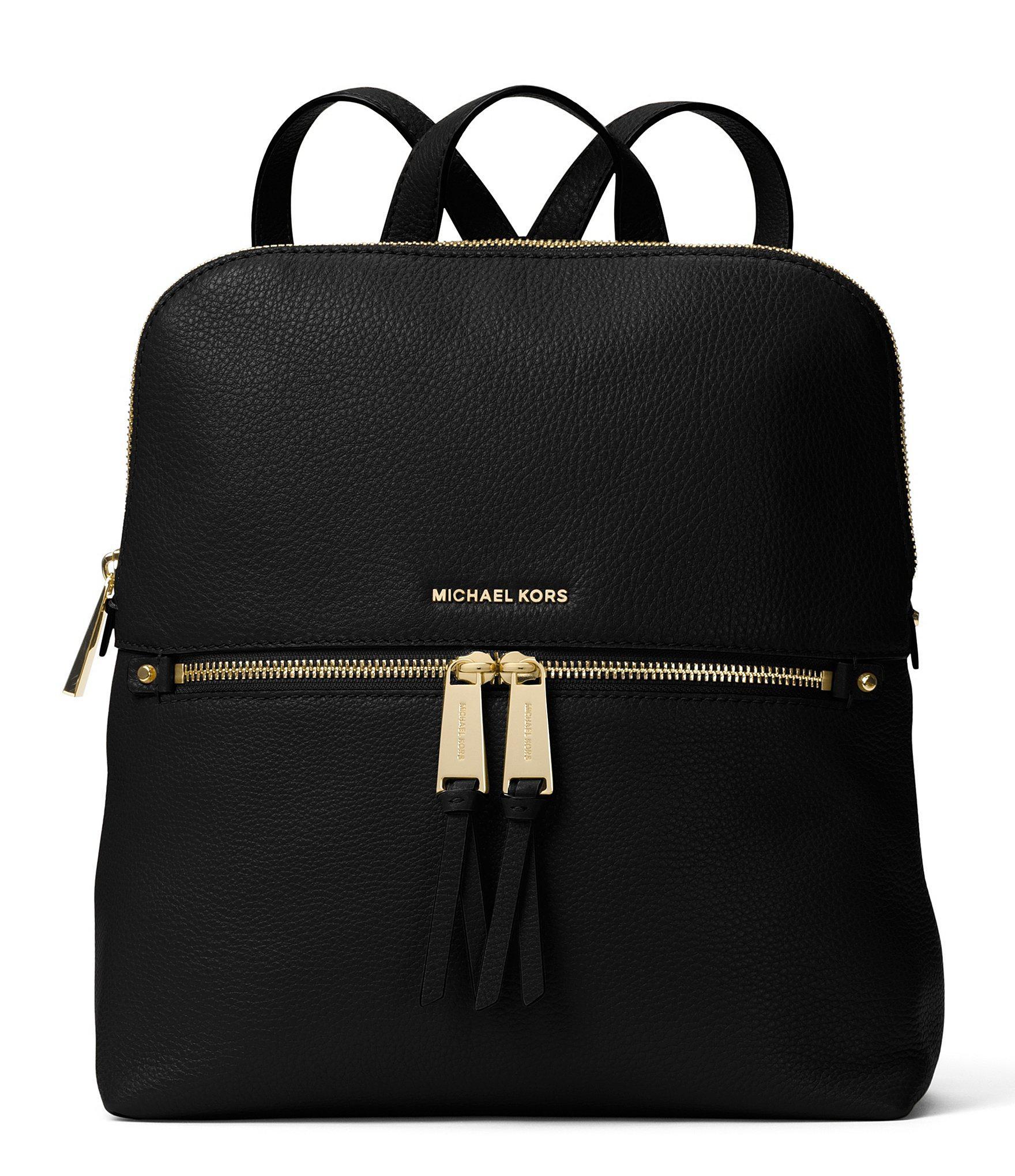 b1389c8246cce Lyst - MICHAEL Michael Kors Gold-tone Rhea Slim Zip Backpack in Black