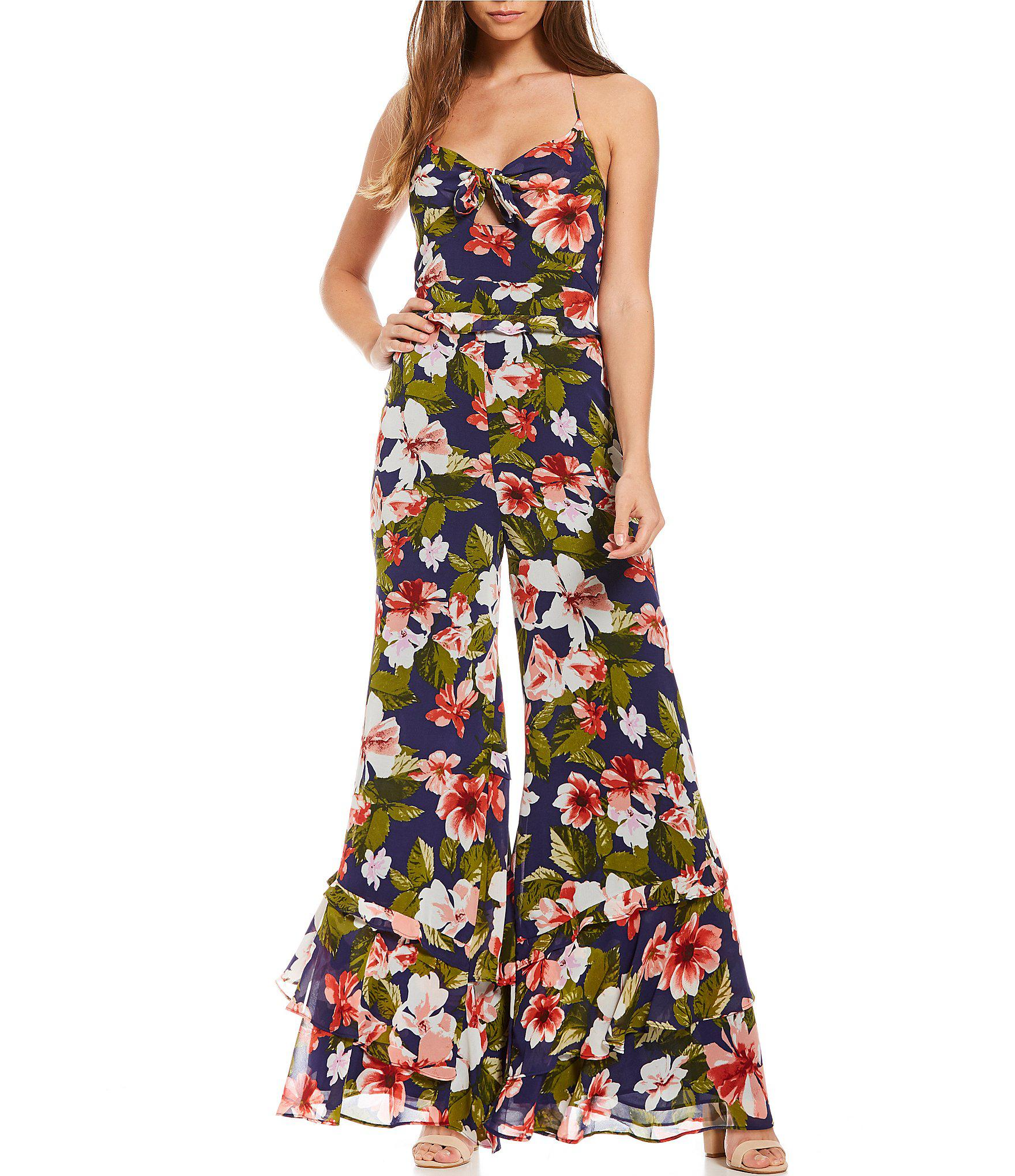 4d29b5f9635 Lyst - Gianni Bini Holly Wide Leg Floral Print Jumpsuit in Blue