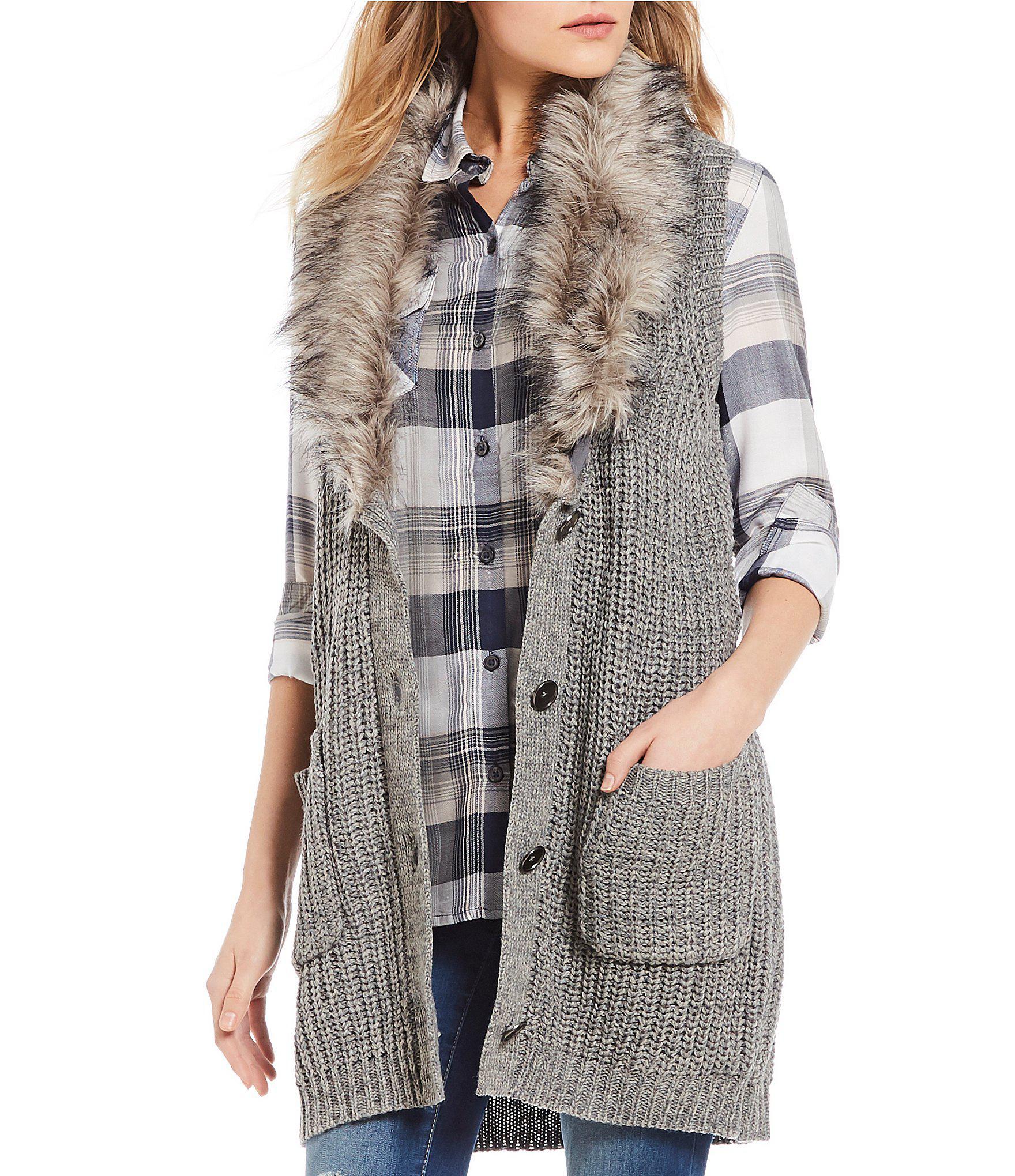 13e28aa36 Jessica Simpson Adler Faux Fur Vest in Gray - Lyst