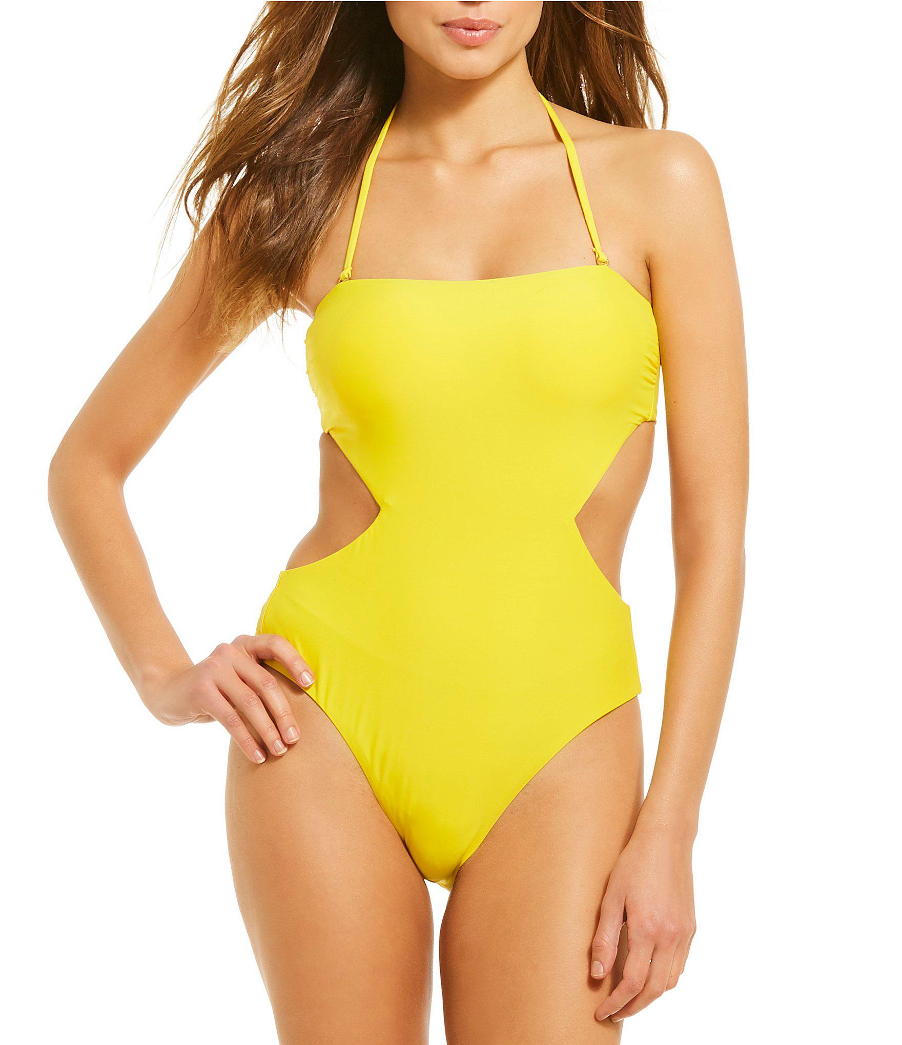 b16d0a0c84f Gianni Bini Solid Cut-out Bandeau High Leg One-piece Swimsuit in ...