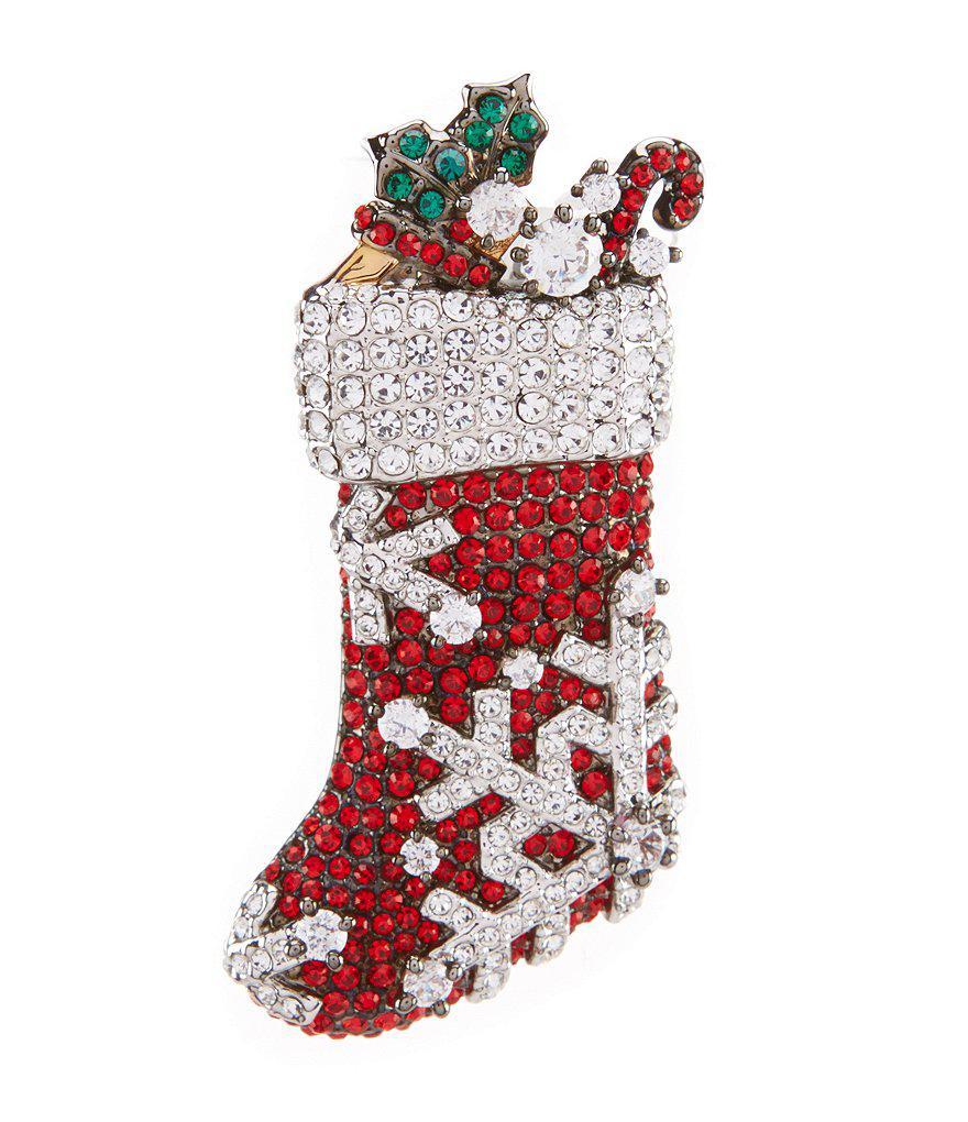 Lyst - Nadri Jolly Stocking Christmas Pin in Red