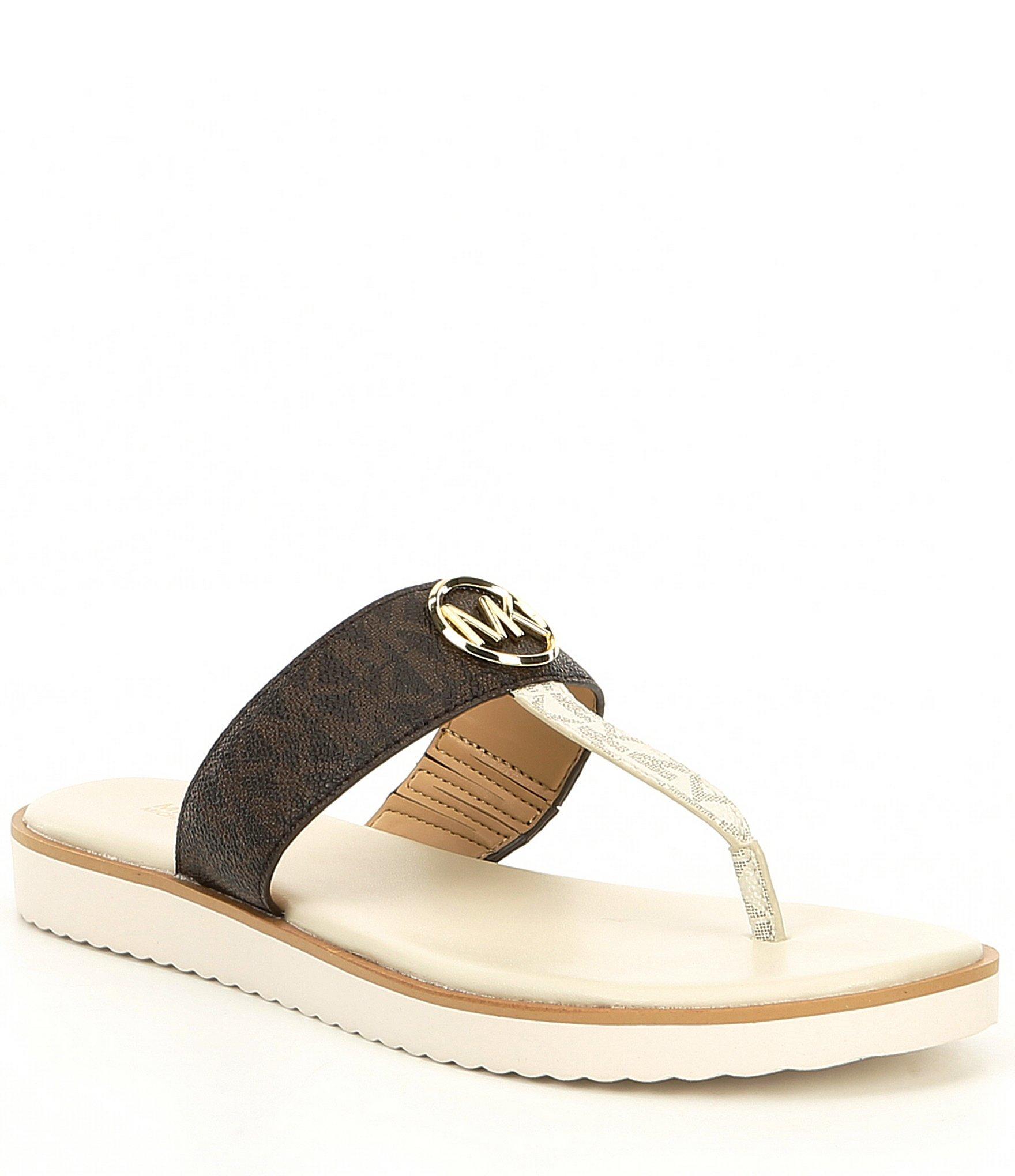 f079c2d2959 Lyst - MICHAEL Michael Kors Lillie Logo Printed Thong Sandals in Brown