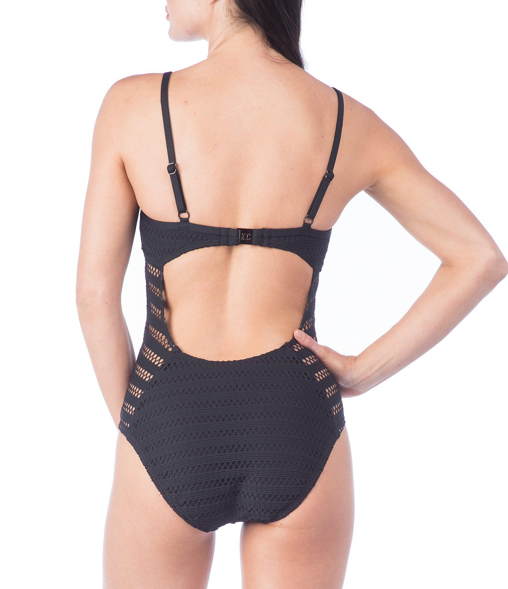 686fad5083 Kenneth Cole Tough Luxe Crochet High Leg V-neck One-piece in Black ...